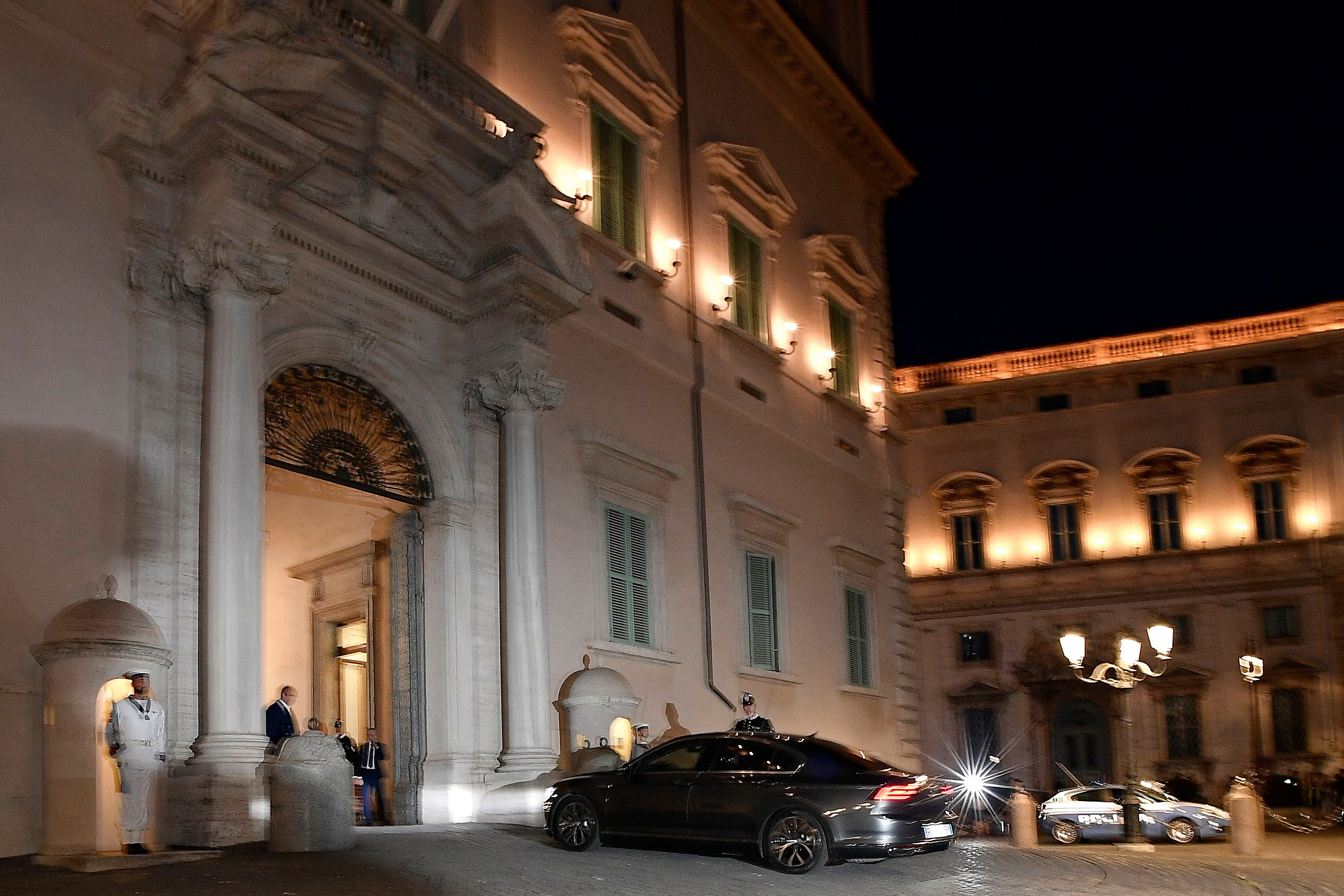 Italian Prime Minister Giuseppe Conte arrives in his car at the Palazzo Quirinale in Rome as the country faces a political crisis on Aug. 20, 2019.