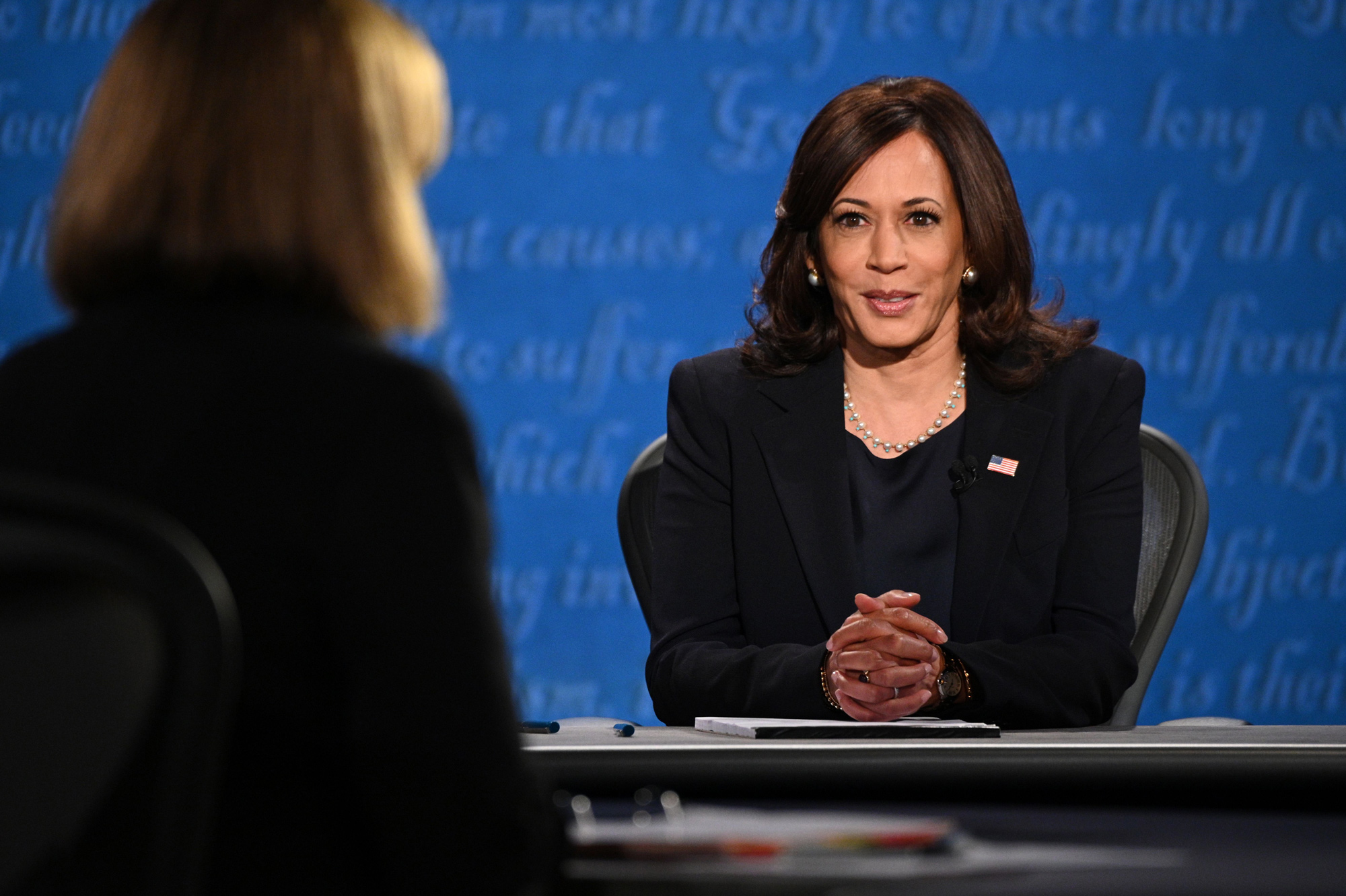 Democratic vice presidential nominee Kamala Harris arrives on stage for the vice presidential debate in Kingsbury Hall at the University of Utah on October 7 in Salt Lake City, Utah.