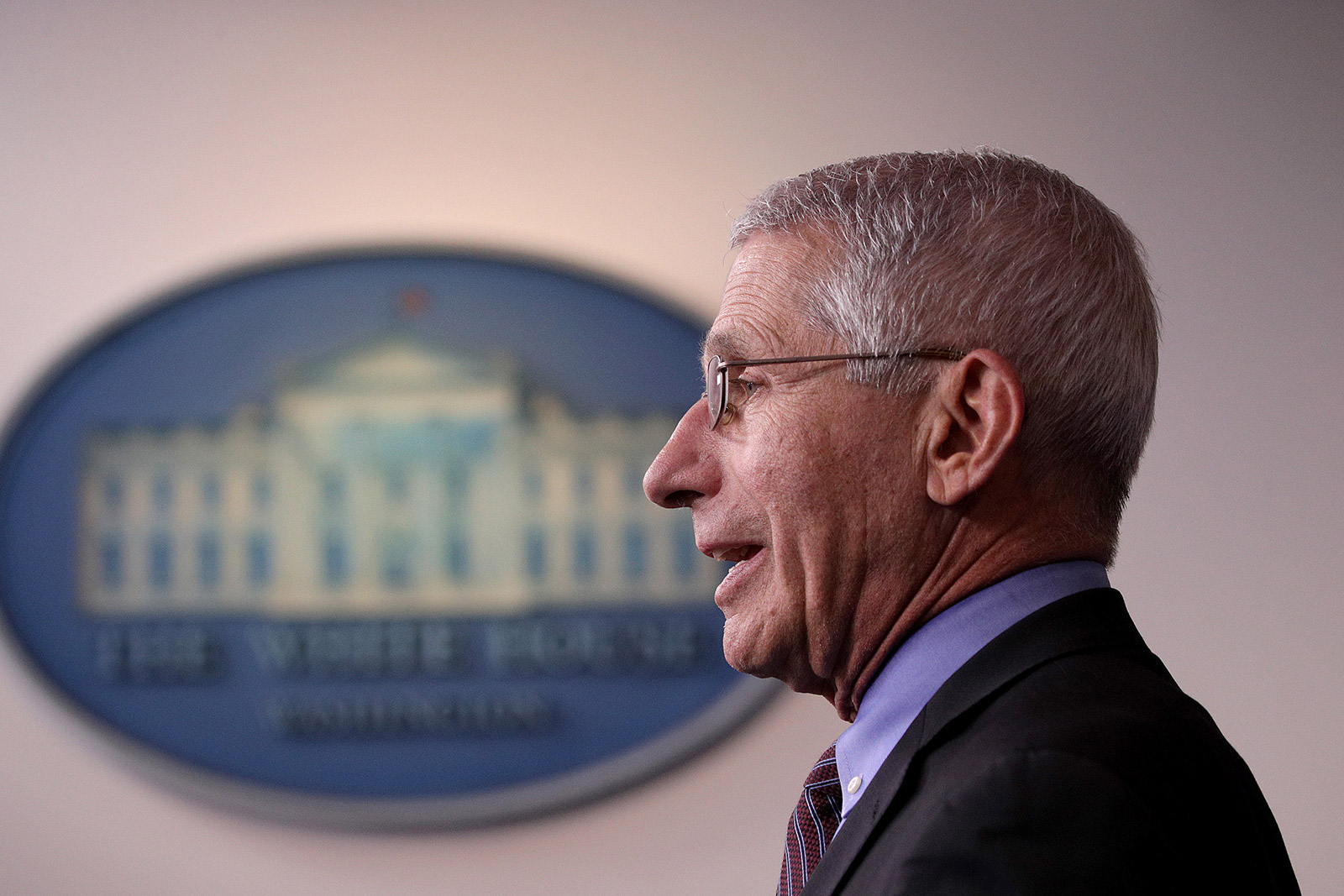 Dr. Anthony Fauci attends a coronavirus briefing at the White House in April.
