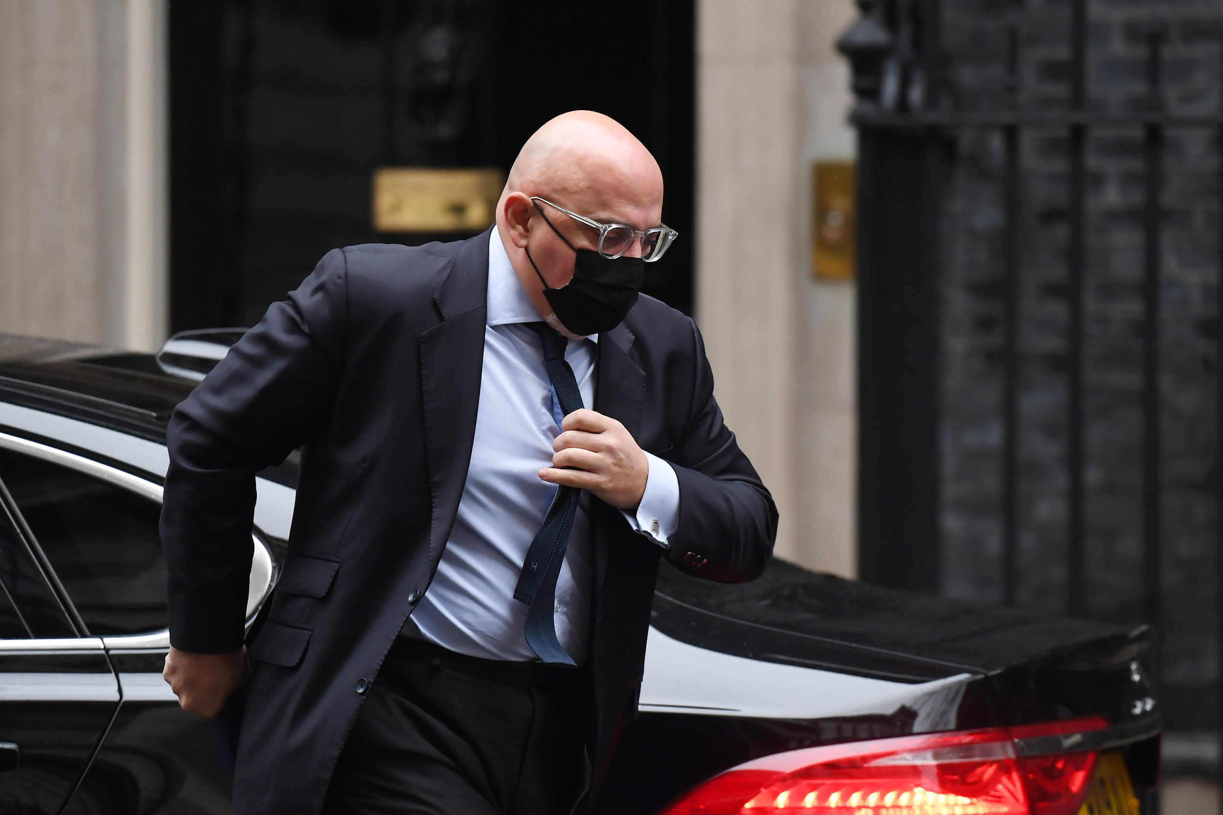 UK vaccine minister Nadhim Zahawi arrives at 10 Downing Street, London, on January 5, 2021.