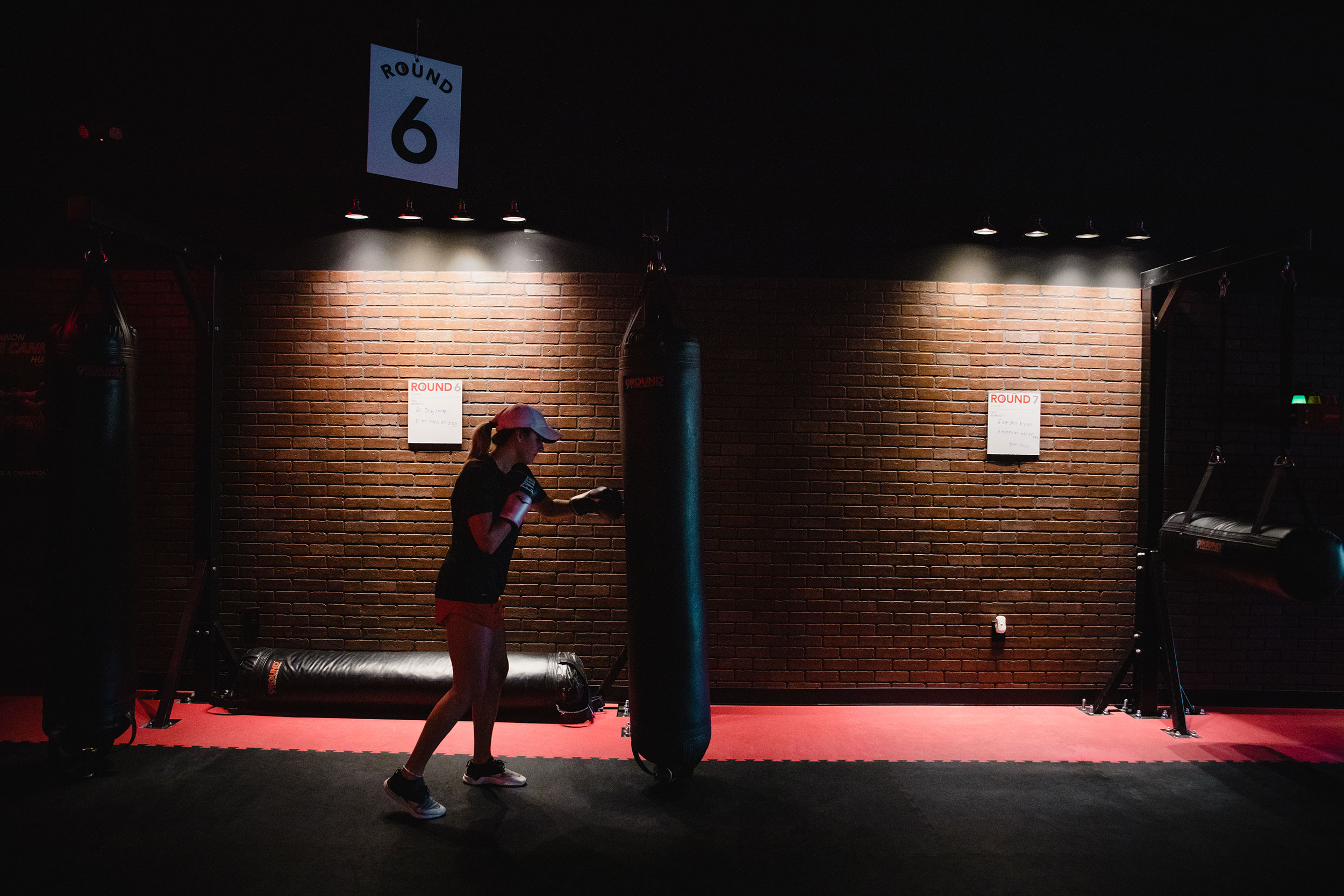 A person works out at a boxing gym in Woodstock, Georgia, on April 27.