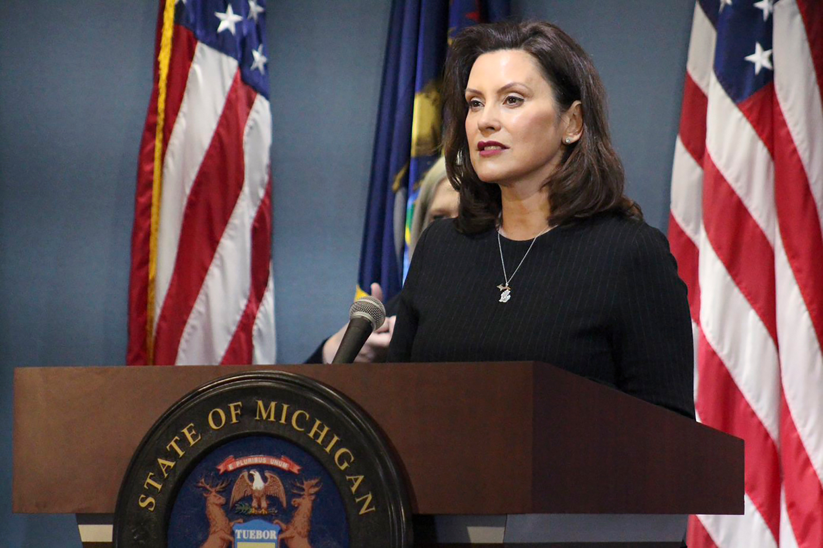 Gov. Gretchen Whitmer addresses the state during a speech in Lansing, Michigan on April 29.