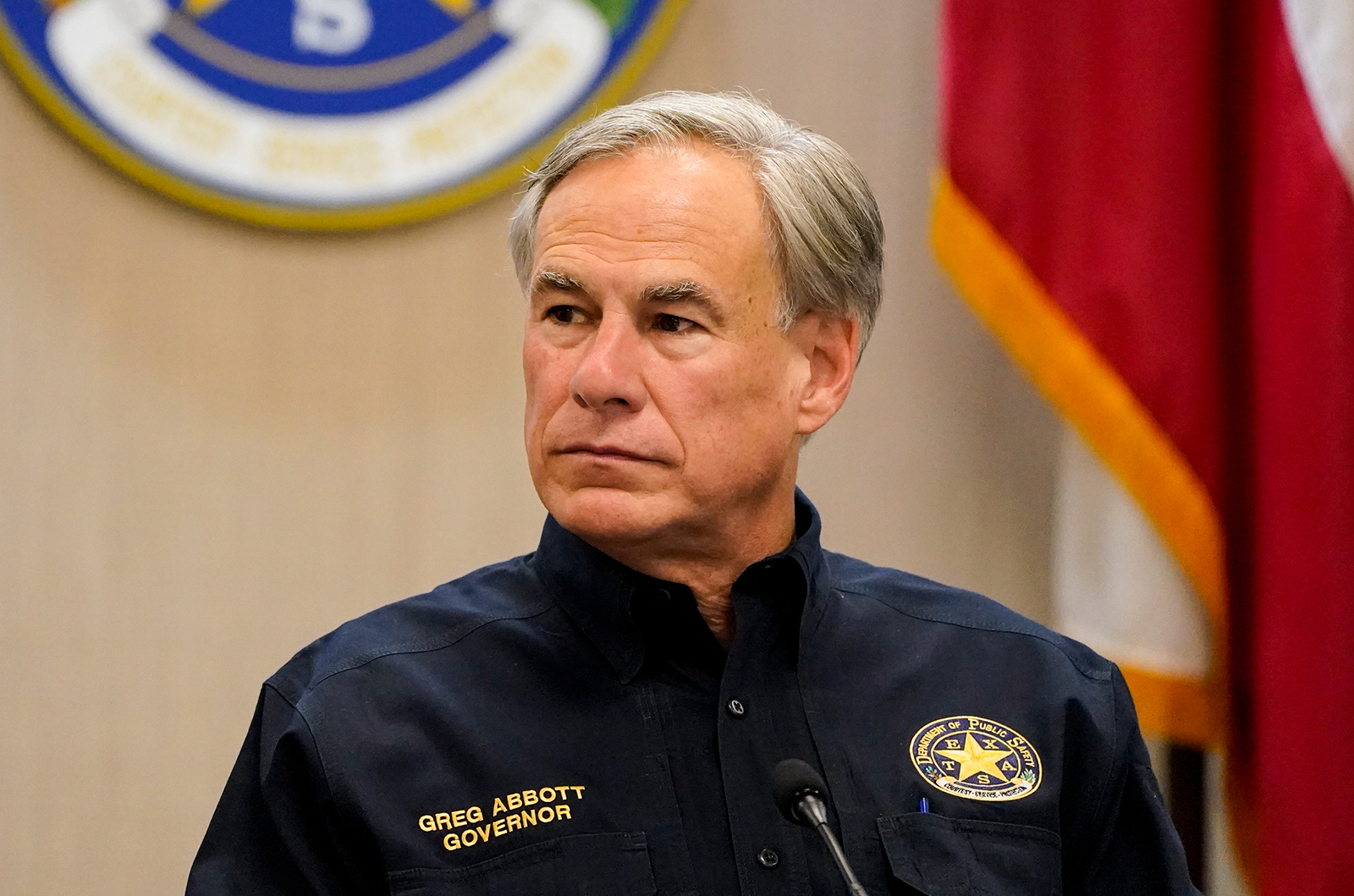 Texas Governor Greg Abbott attends a security briefing with former President Donald Trump and state officials and law enforcement at the Weslaco Department of Public Safety DPS Headquarters on June 30 in Weslaco, Texas.