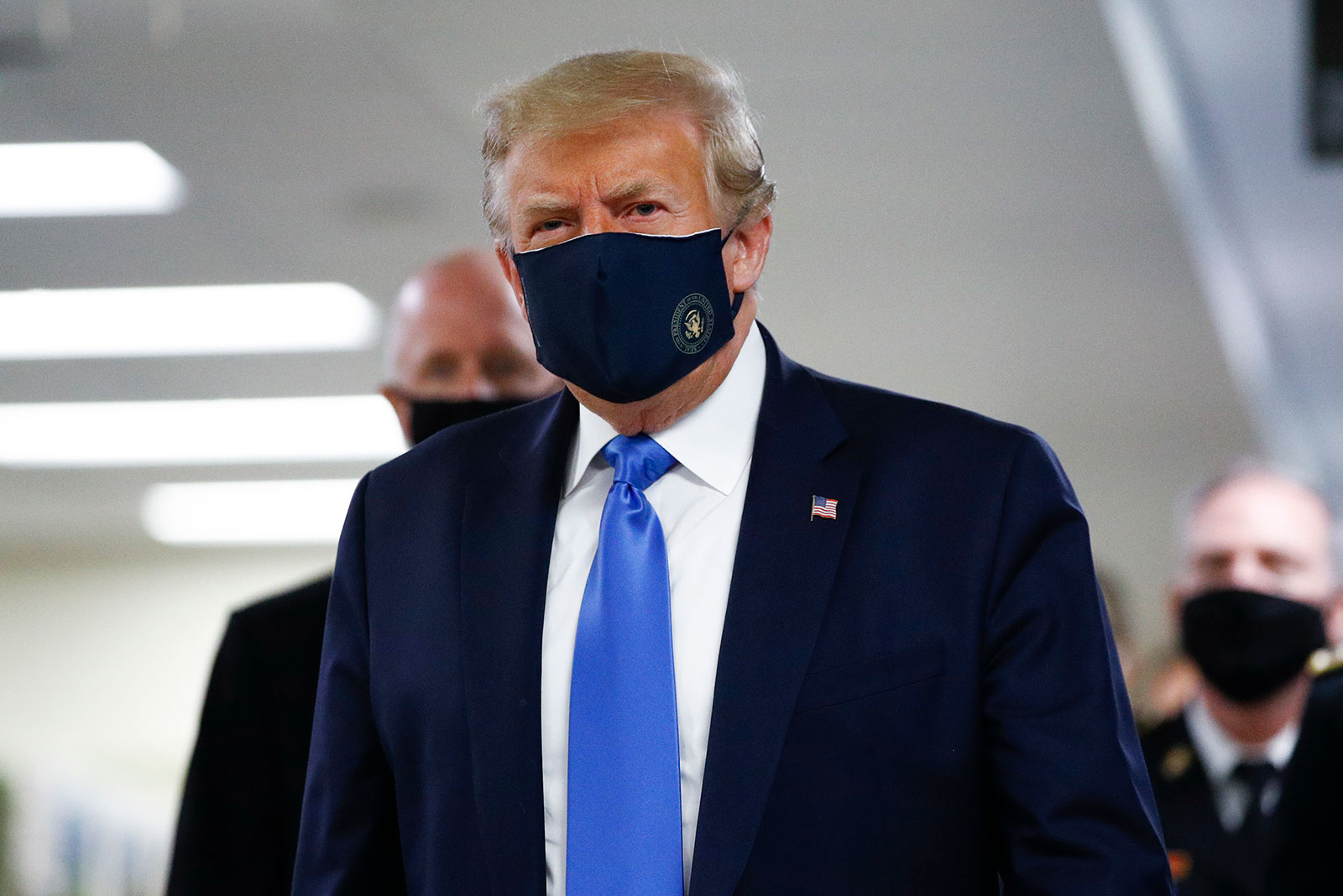 President Trump wears a mask during a visit to Walter Reed National Military Medical Center on Saturday.