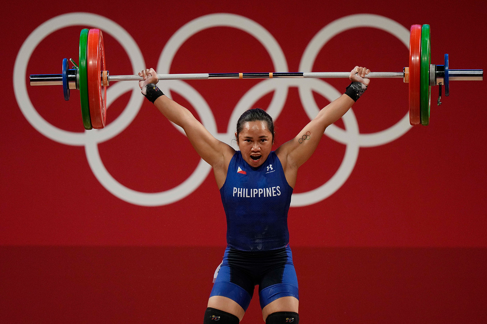 The Philippines' Hidilyn Diaz competes in the 55kg weightlifting event on July 26.