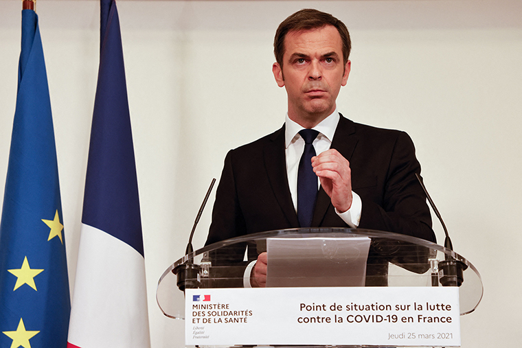 French Health Minister Olivier Veran delivers a press conference on the current French government strategy for the ongoing Covid-19 pandemic in Paris, on March 25.