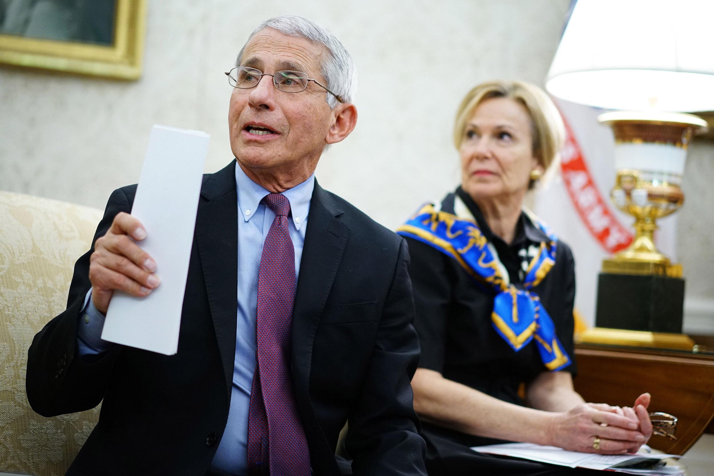 Dr. Anthony Fauci, left, with White House Coronavirus Task Force response coordinator Deborah Birx in Washington, DC on April 29.