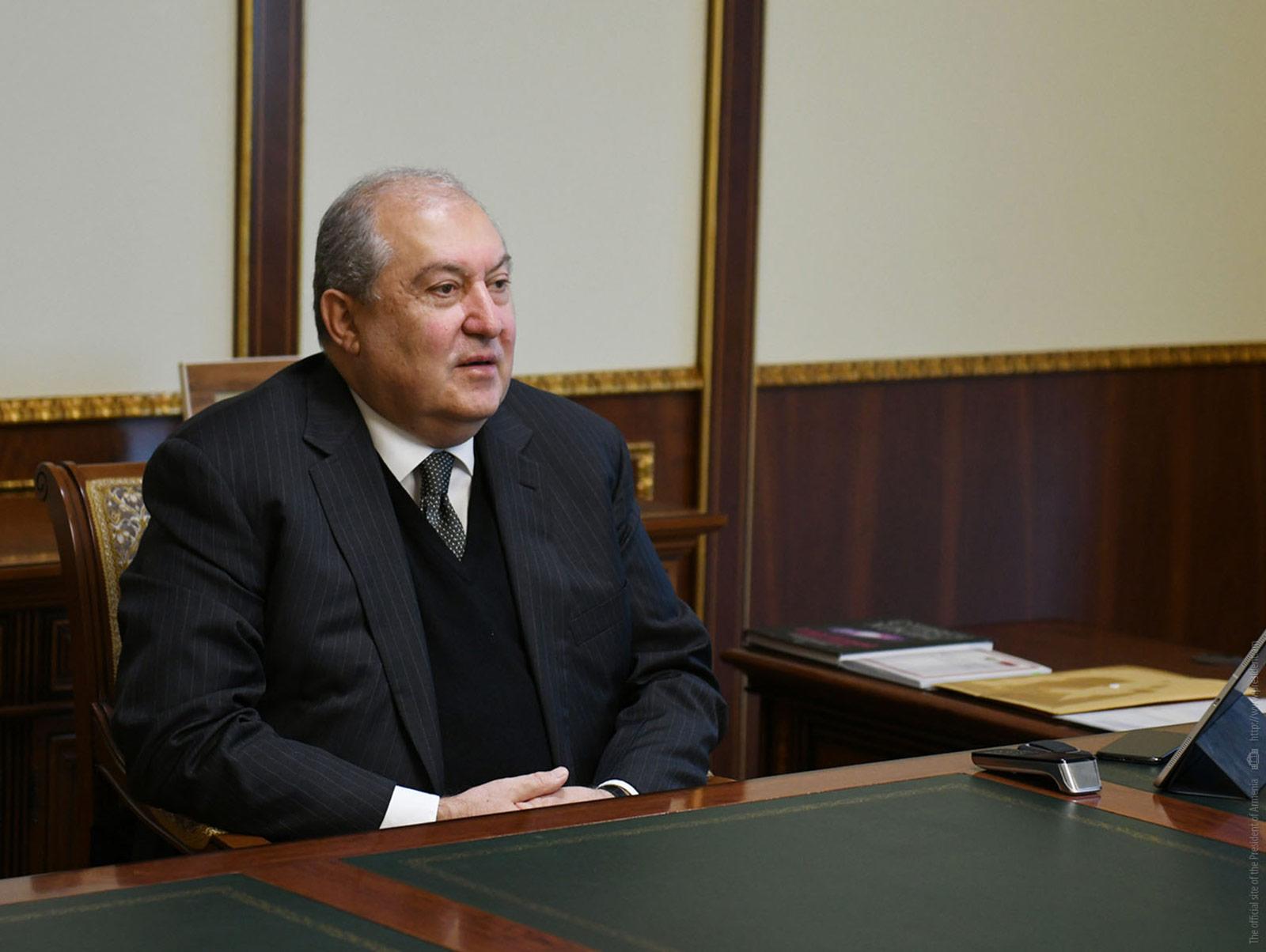 Armenian President Armen Sarkissian attends a meeting in March 2020.