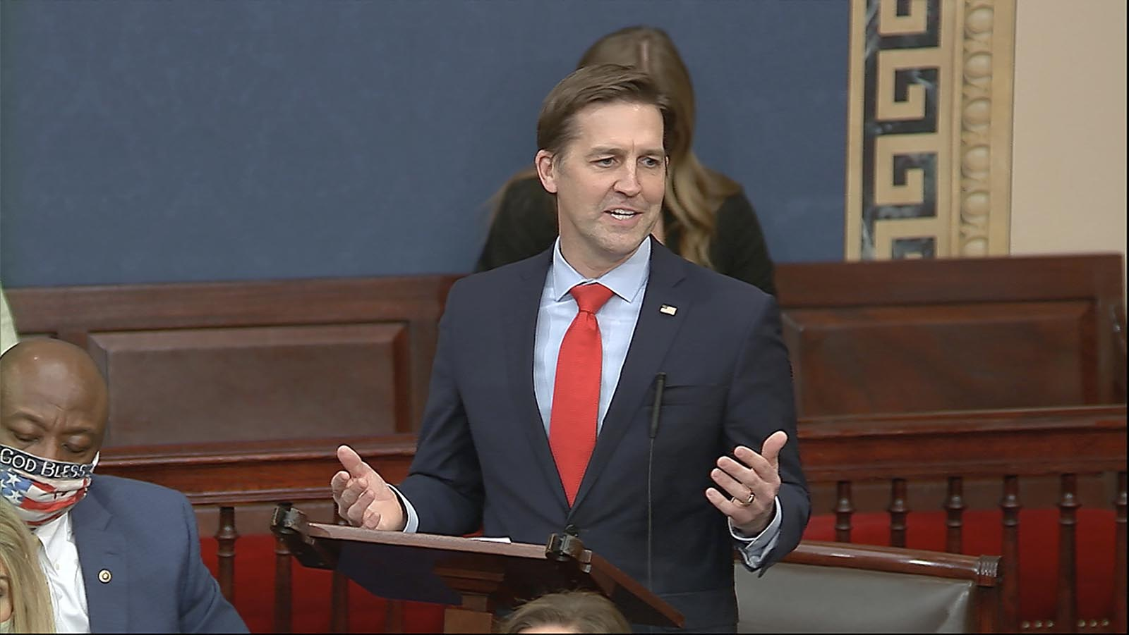 In this image from video, Sen. Ben Sasse, R-Neb, speaks as the Senate reconvenes after protesters stormed into the U.S. Capitol on Wednesday, January 6.
