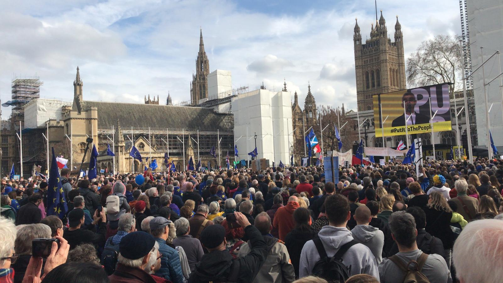 A number of anti-Brexit campaigners will address the crowd in Parliament Square.