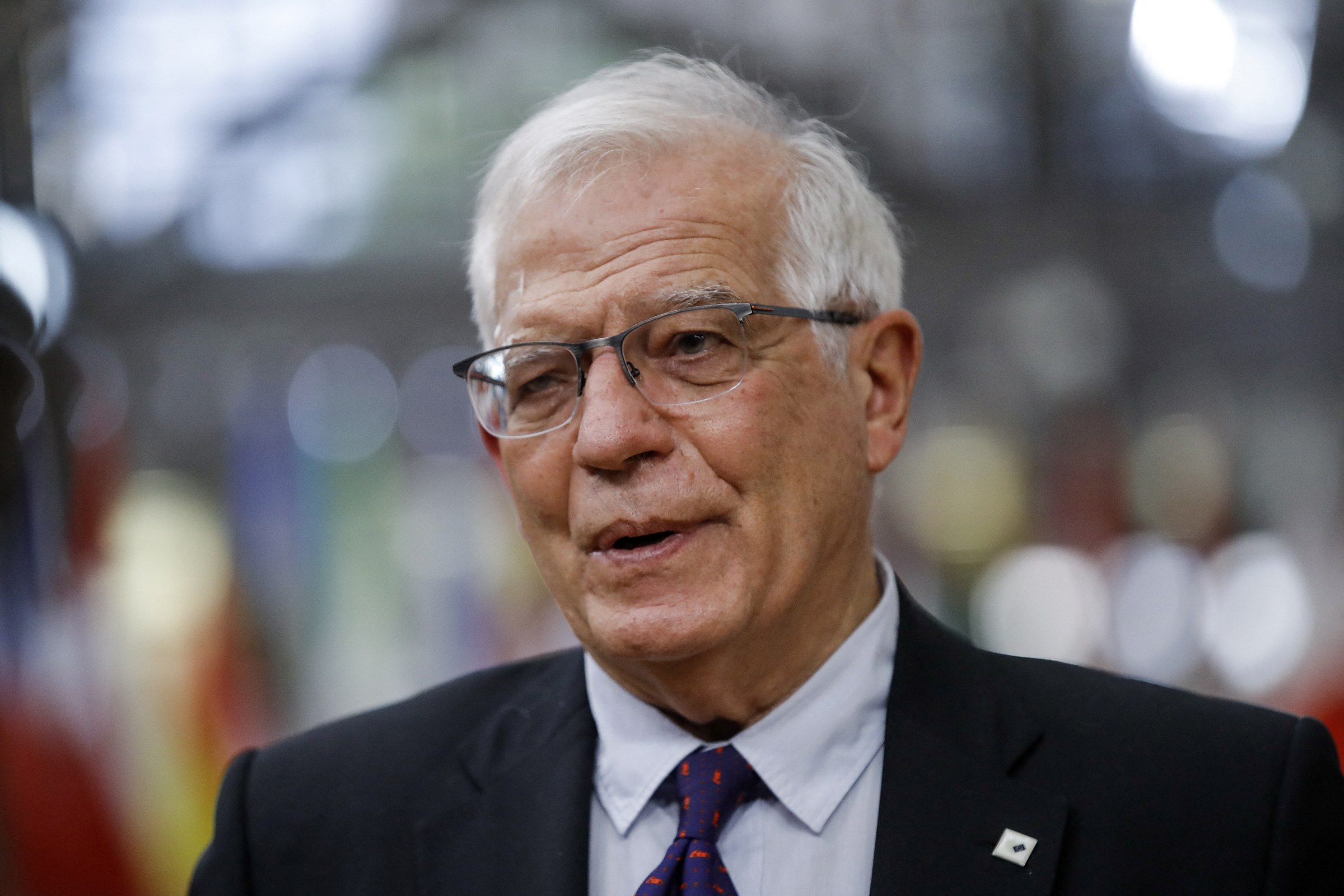 Josep Borrell arrives for an EU summit in Brussels, on May 24.