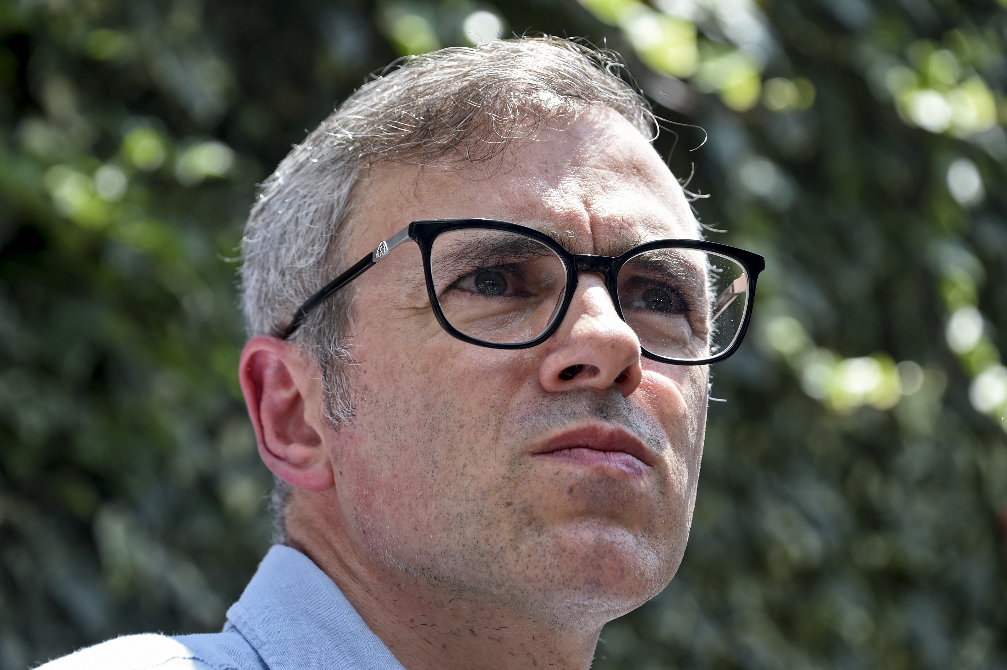 Former Chief Minister of Jammu and Kashmir Omar Abdullah speaks during a press conference in Srinagar on Saturday.