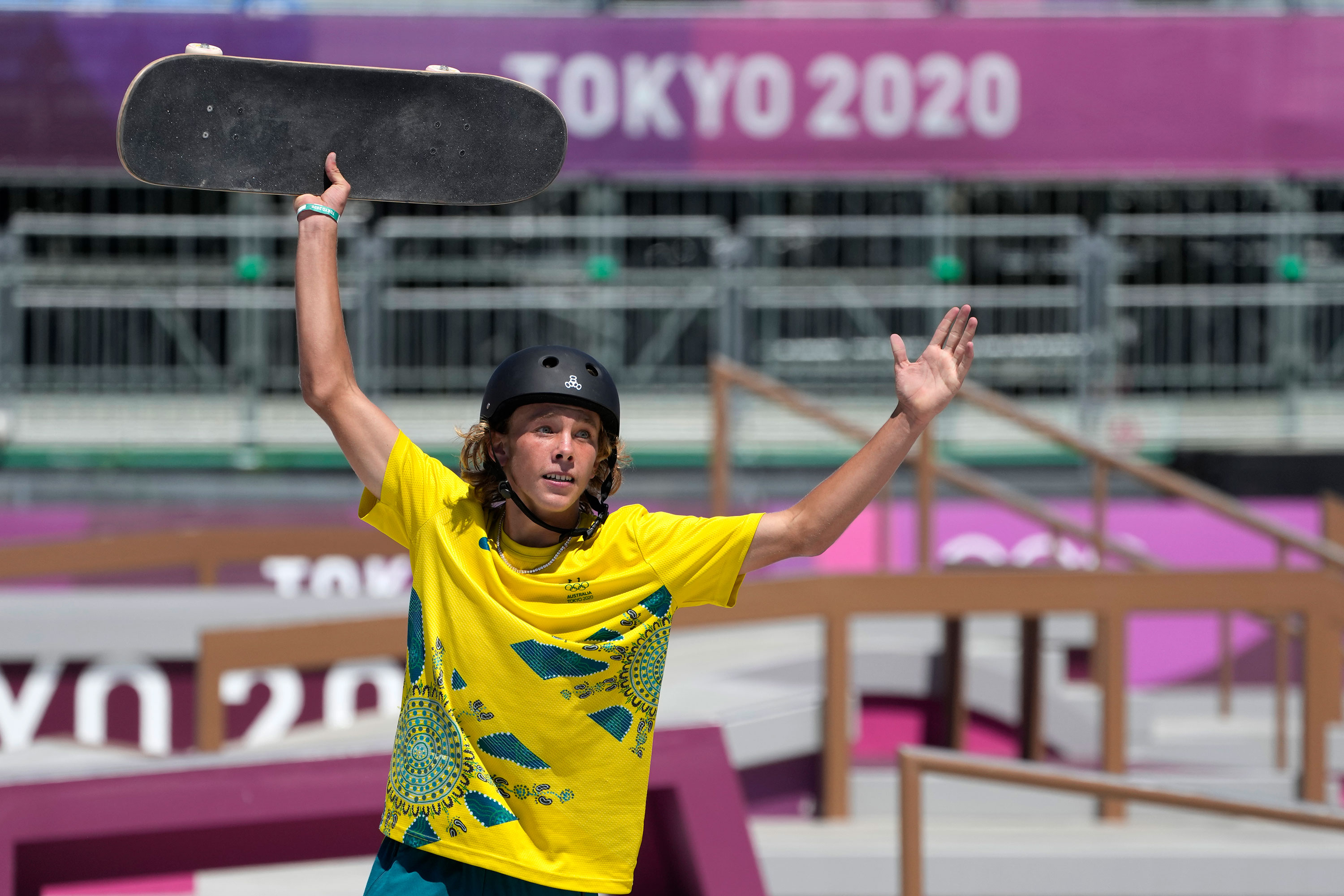 Australia's Keegan Palmer reacts during the park skateboarding final on August 5.