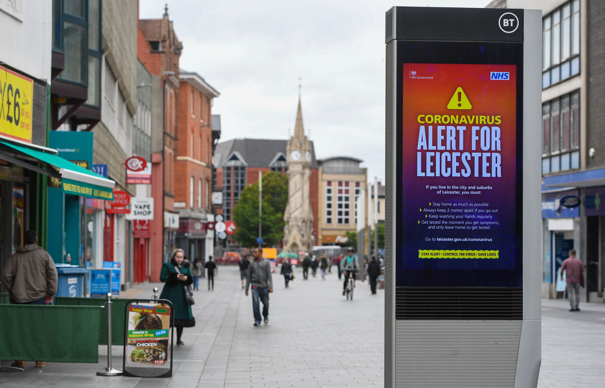 Restrictions have been in place in Leicester, England, since June 29.