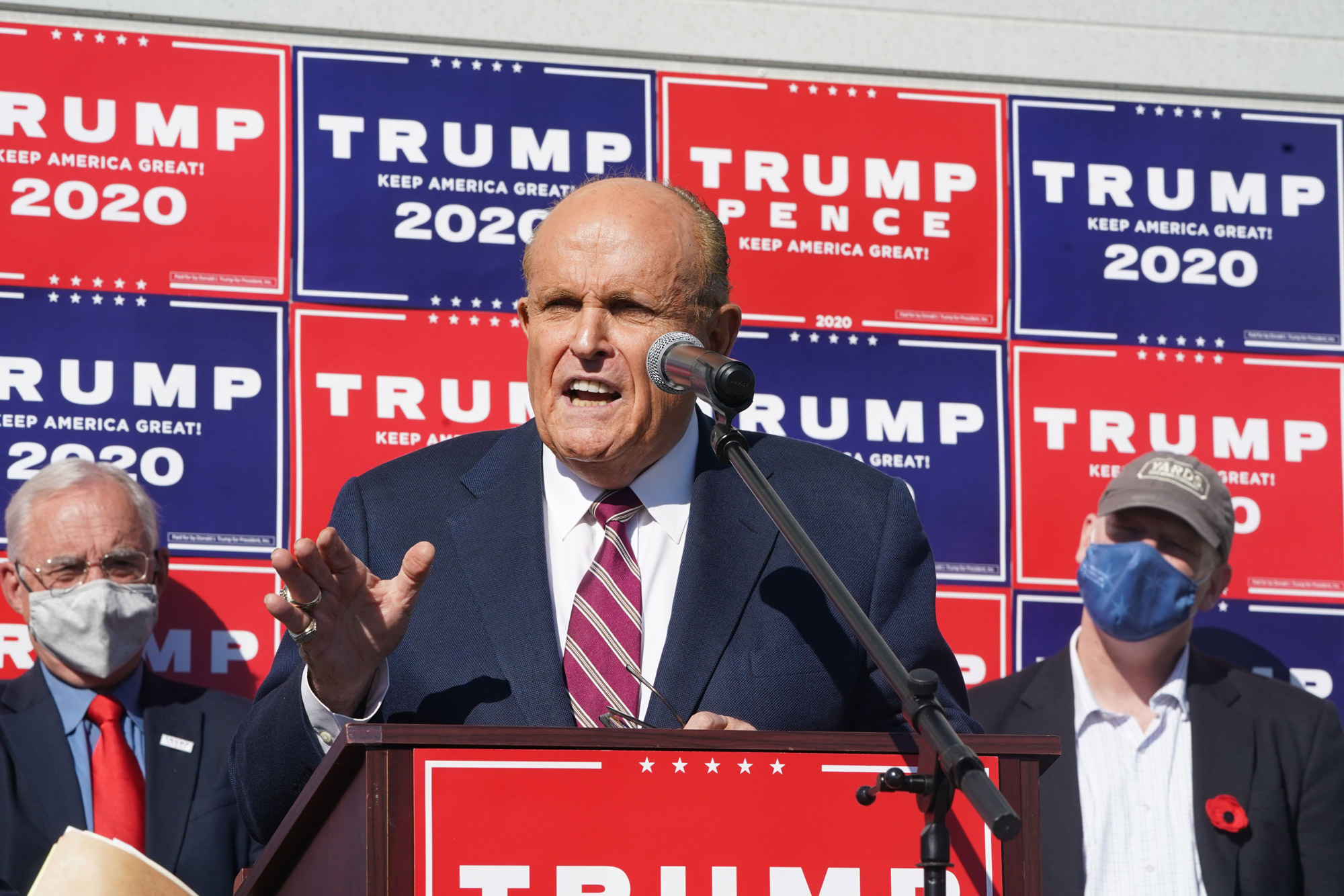 Rudy Giuliani, President Trump's personal lawyer, speaks at a news conference in the parking lot of a landscaping company on November 7 in Philadelphia.