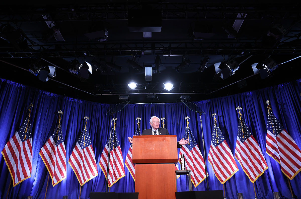 Sen. Bernie Sanders delivers an address on threats to American democracy at George Washington University on September 24.