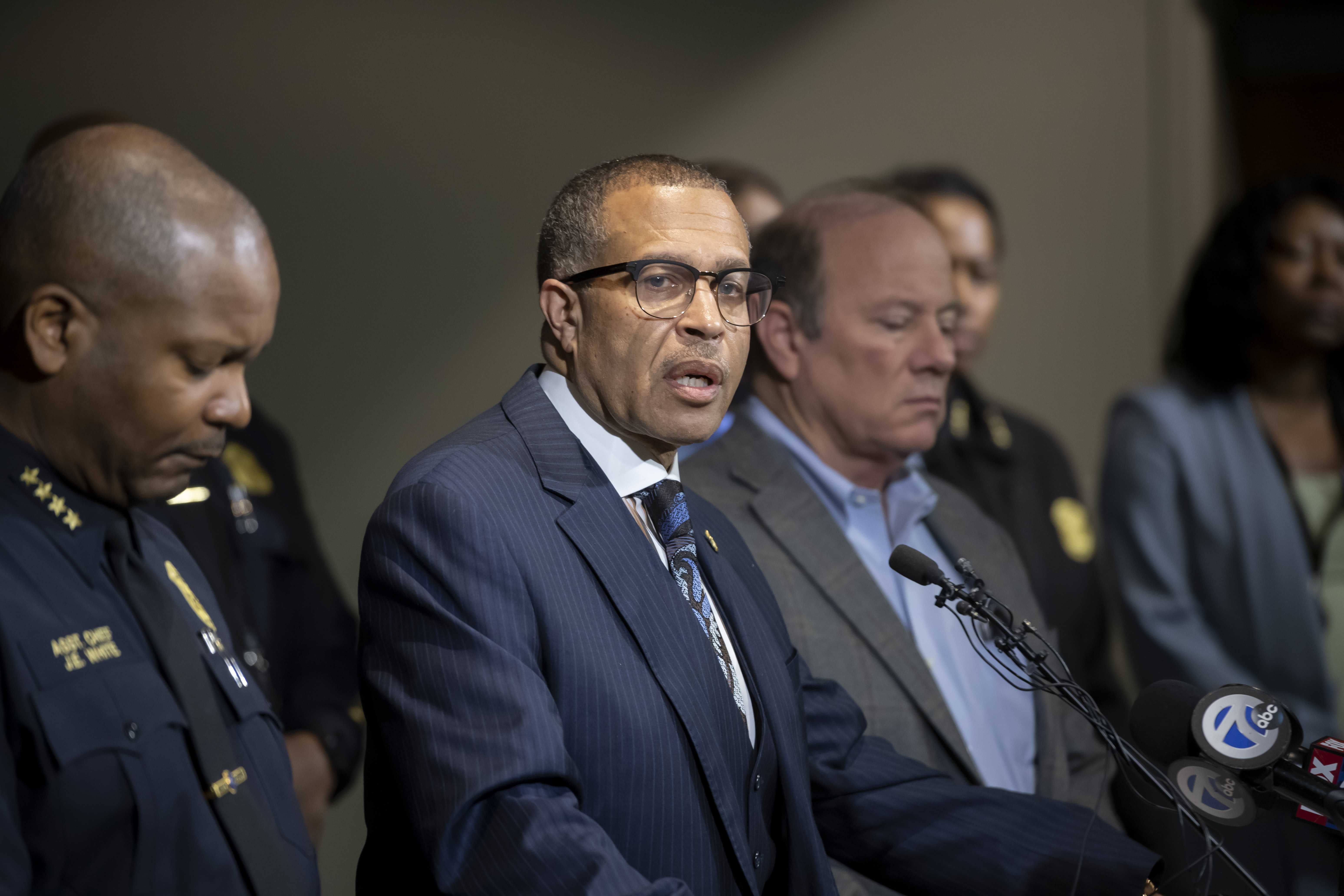 Detroit Police Chief James Craig, center, speaks to the media at Detroit Public Safety Headquarters in Detroit on November 21, 2019.