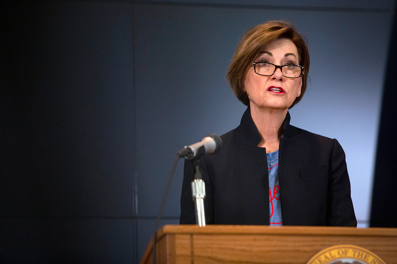 Iowa Gov. Kim Reynolds announces updates on COVID-19 in the state on April 24.