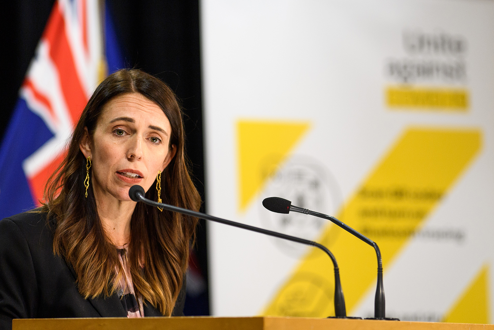 New Zealand Prime Minister Jacinda Ardern speaks with media  in Wellington, New Zealand, on February 14.