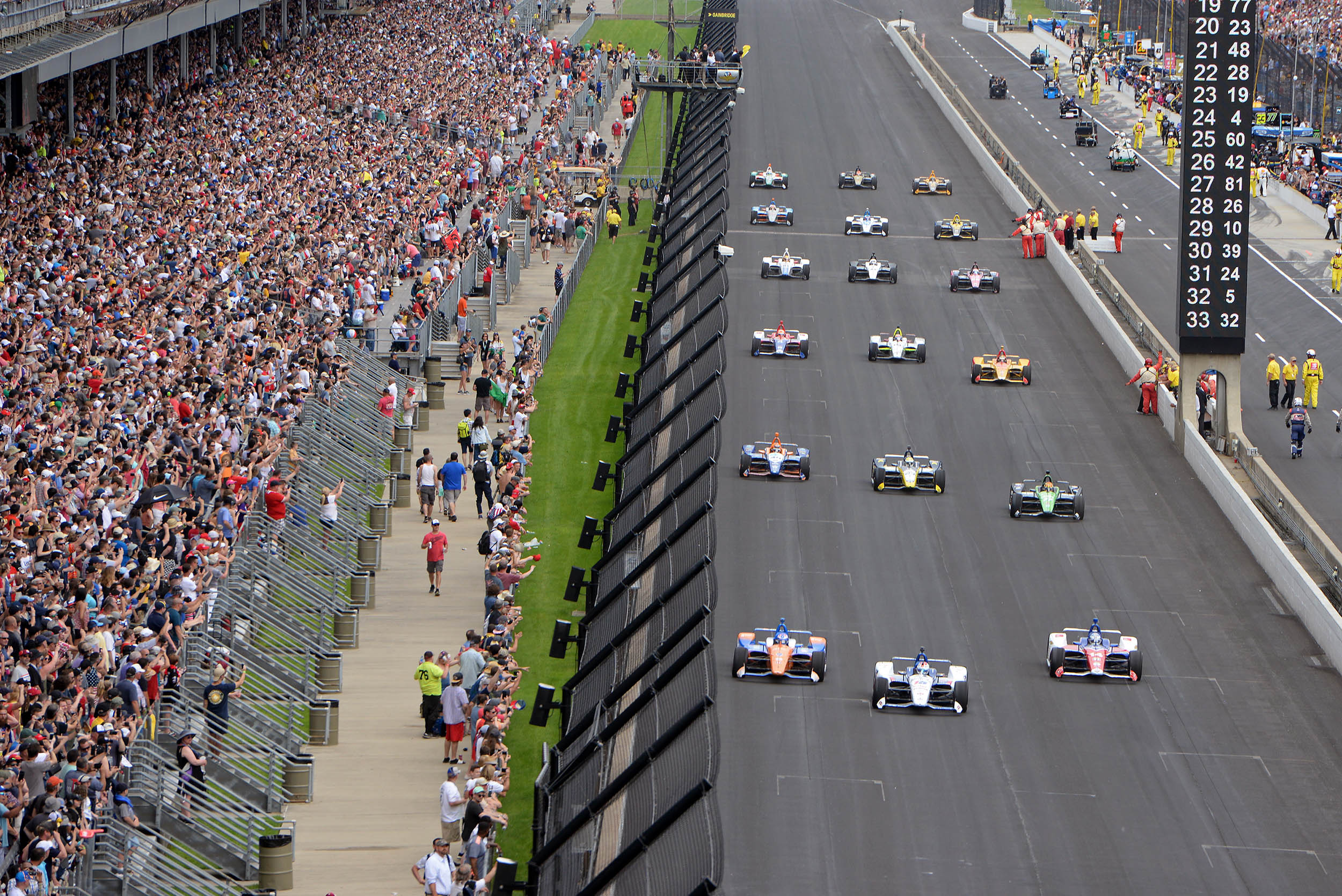 Fans attend the NTT IndyCar Series 103rd running of the Indianapolis 500 on May 26, 2019.