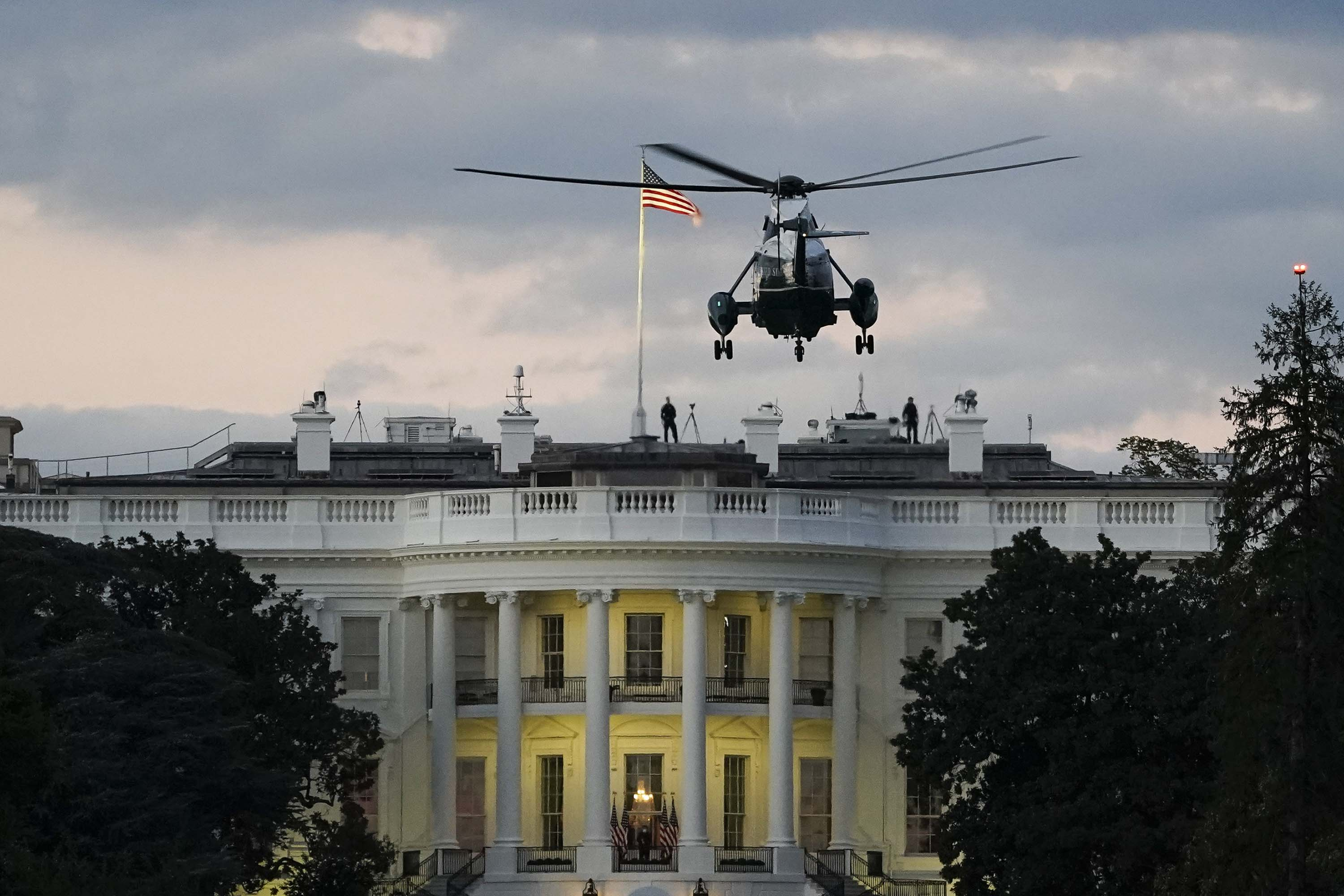 U.S. Marine One, with President Donald Trump onboard, prepares to land on the South Lawn of the White House on October 5.