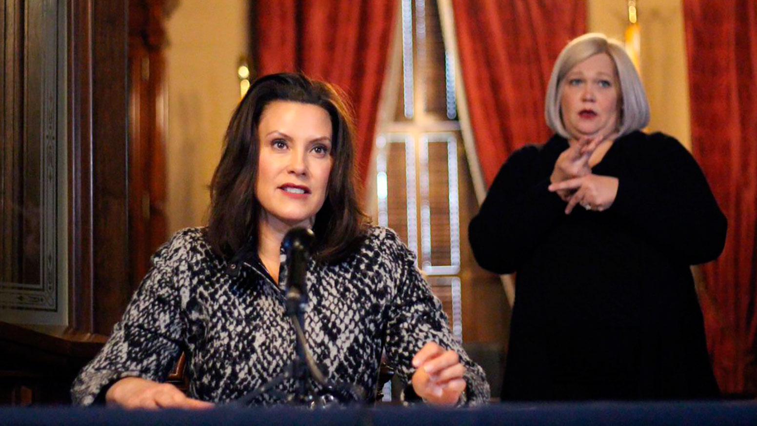 Michigan Gov. Gretchen Whitmer addresses the state during a speech in Lansing, Michigan on April 13.