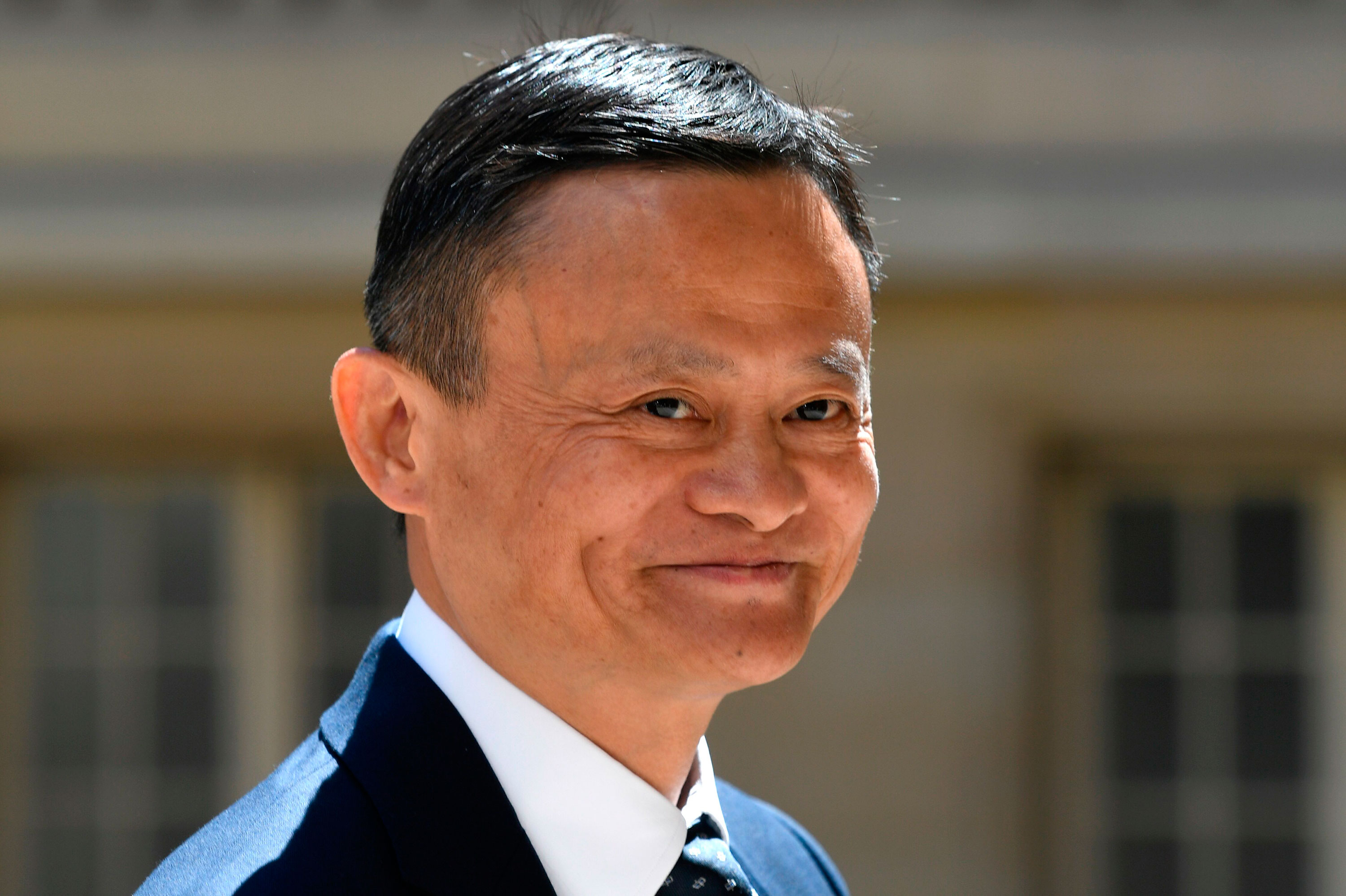"In this file photo, Jack Ma arrives for the ""Tech For Good"" meetup at Hotel Marigny in Paris on May 15, 2019."