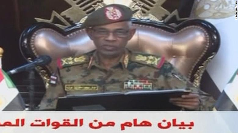 Sudan's Minister of Defense, Awad Mohamed Ahmed Ibn Auf, addresses the nation in a statement on Sudan State TV.