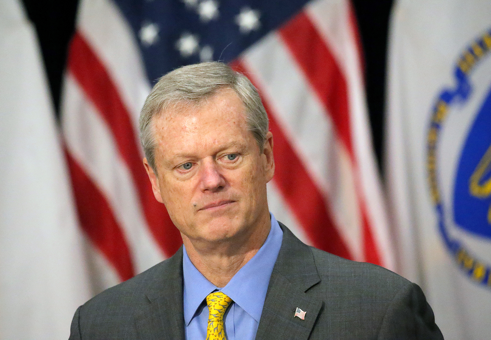 Governor Charlie Baker speaks during a state update on the coronavirus pandemic in Boston on July 24.