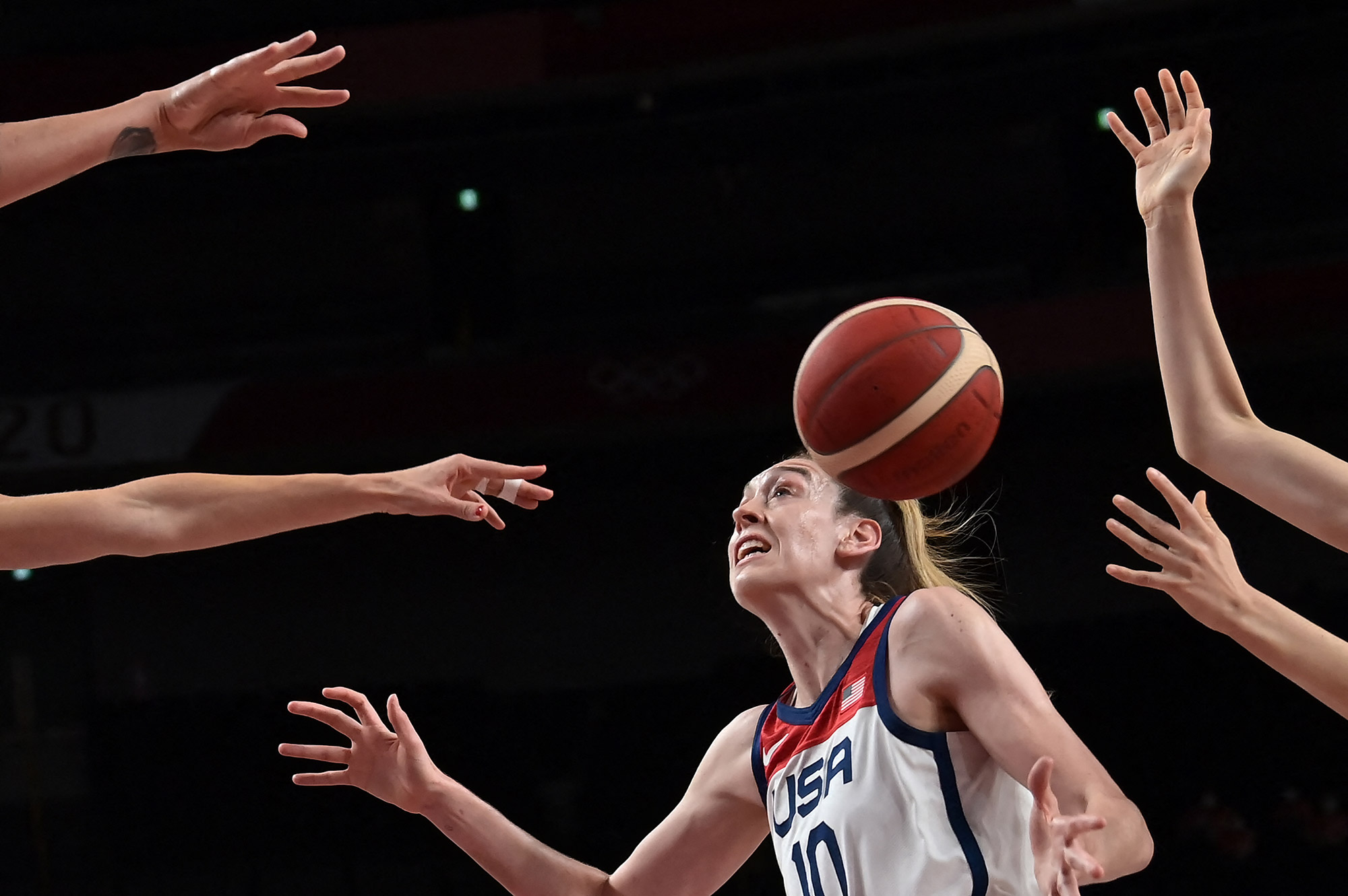 The United States' Breanna Stewart plays in a basketball semifinal against Serbia on Friday.