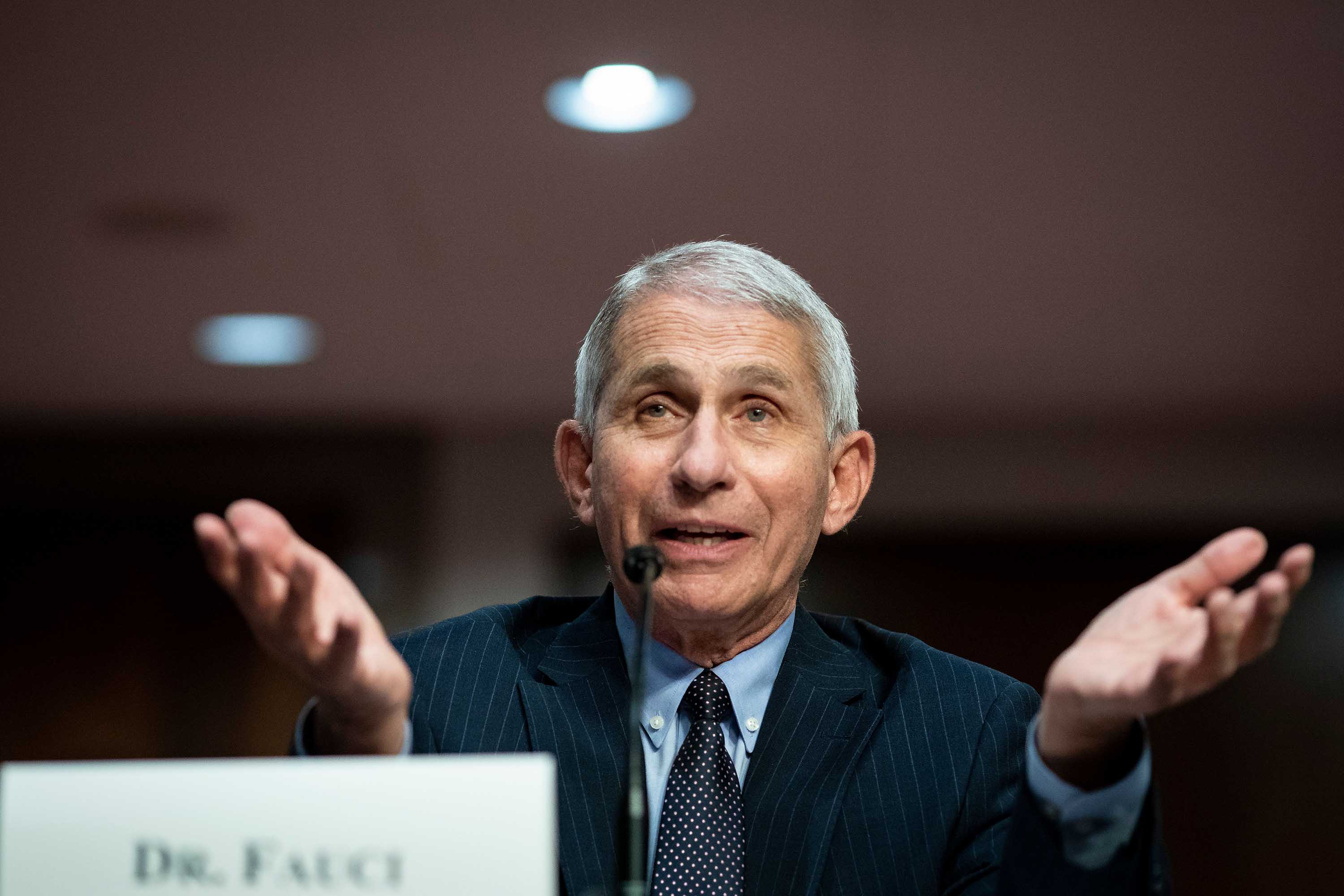 Dr. Anthony Fauci, Director of the National Institute of Allergy and Infectious Diseases, speaks during a Senate hearing in Washington on June 30.
