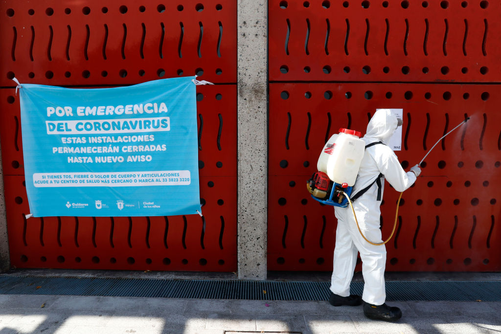 A member of the health personnel sanitizes the public spaces in Zapopan as part of the preventive measures against the spread of the Covid-19 on March 27 in Zapopan, Mexico.