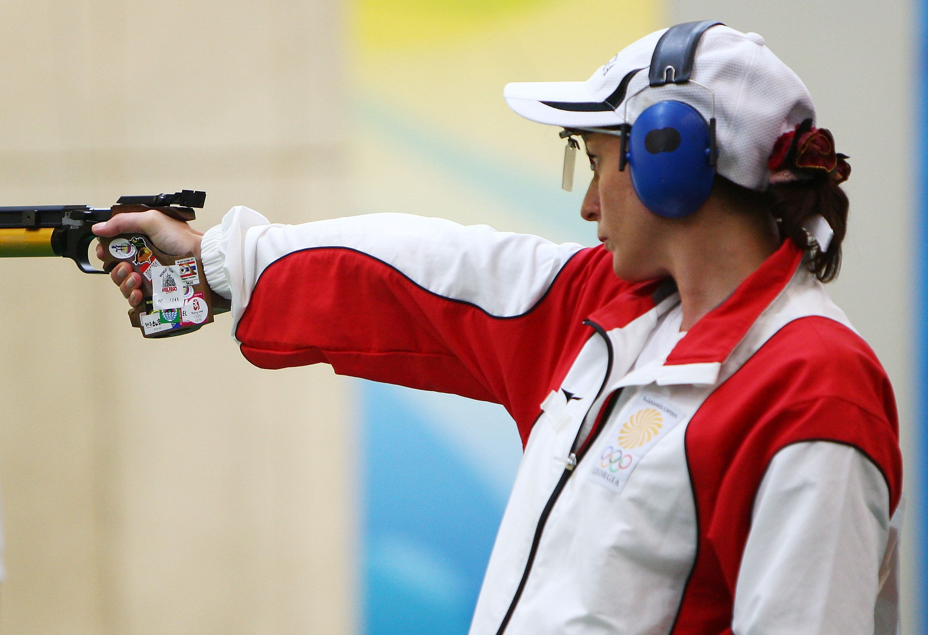 Nino Salukvadze of Georgia competes during the 2008 Beijing Summer Olympic Games.