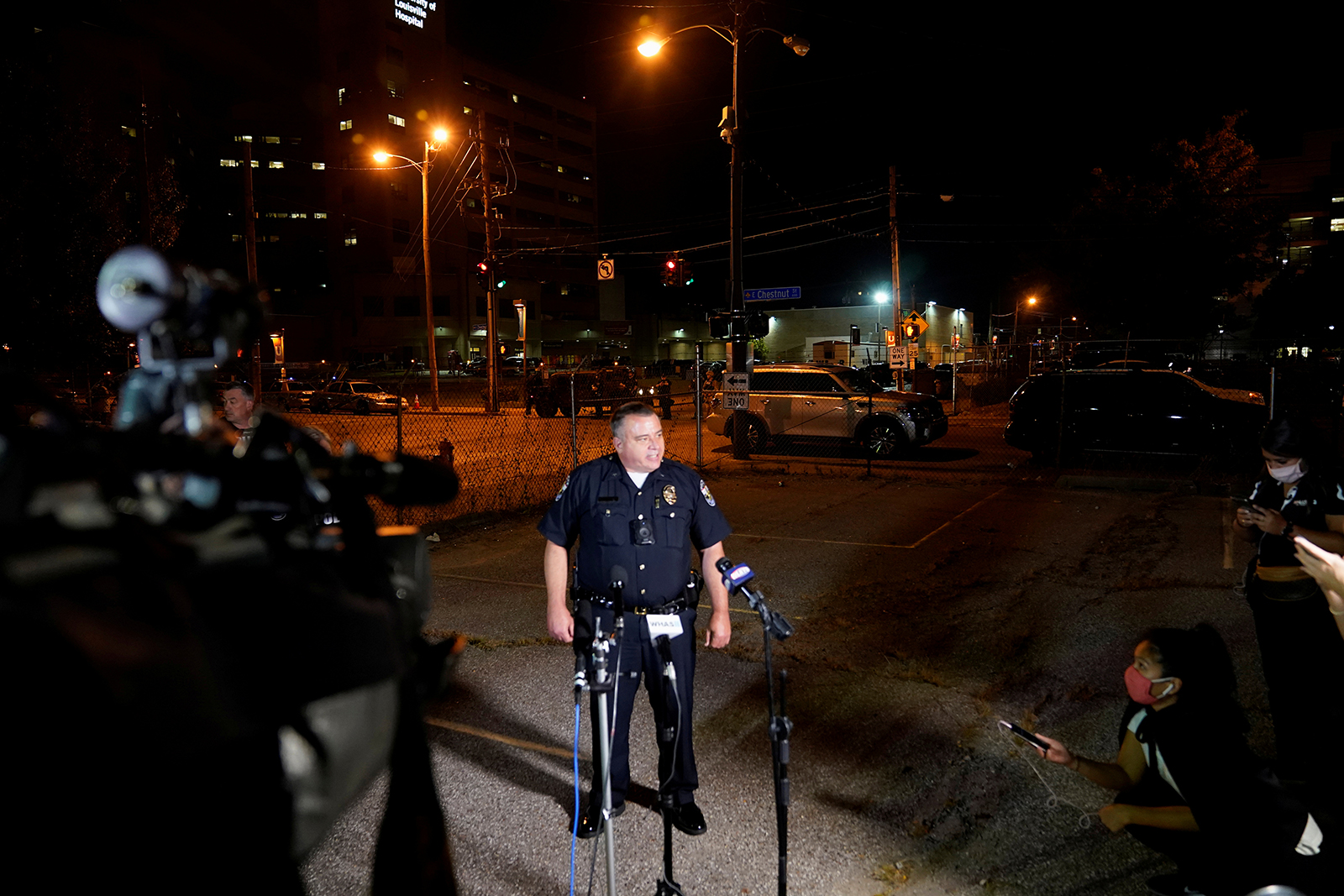 Louisville Metro Police Department Interim Police Chief Robert Schroeder speaks to the media as he confirms two officers have been shot, after protesters clashed with police in Louisville, Kentucky, on September 23.