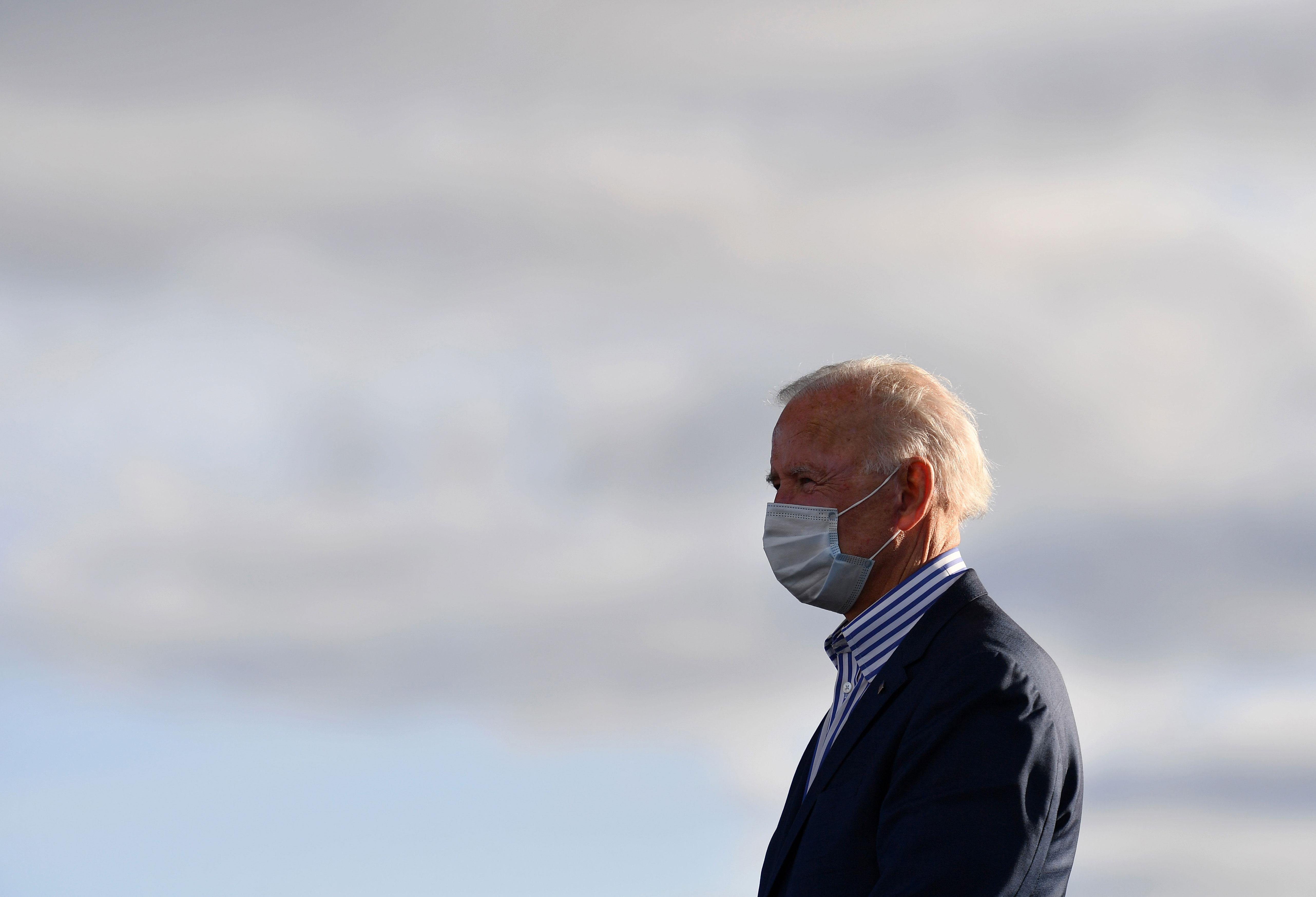 Democratic presidential nominee Joe Biden attends a drive-in rally in Dallas, Pennsylvania, on October 24.