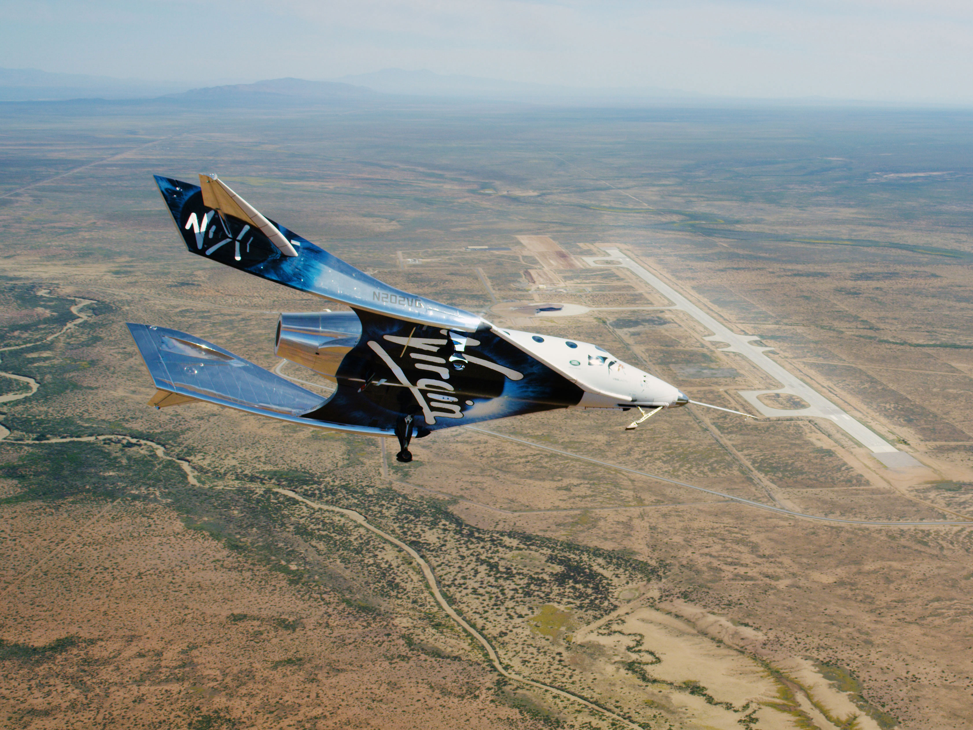 SpaceShipTwo VSS Unity flies in New Mexico airspace in October 2020.