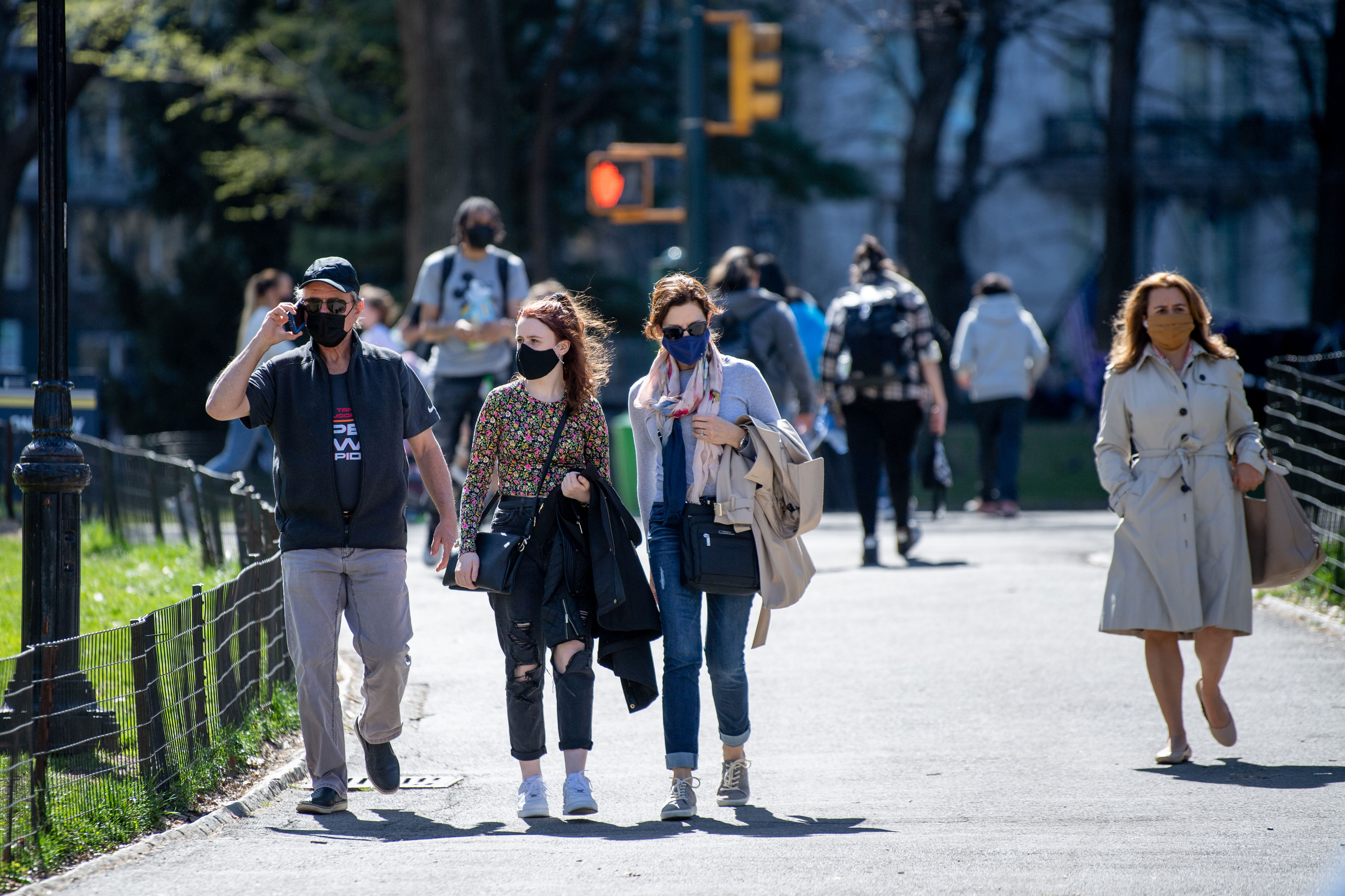 People walk in New York's Central Park on April 6.
