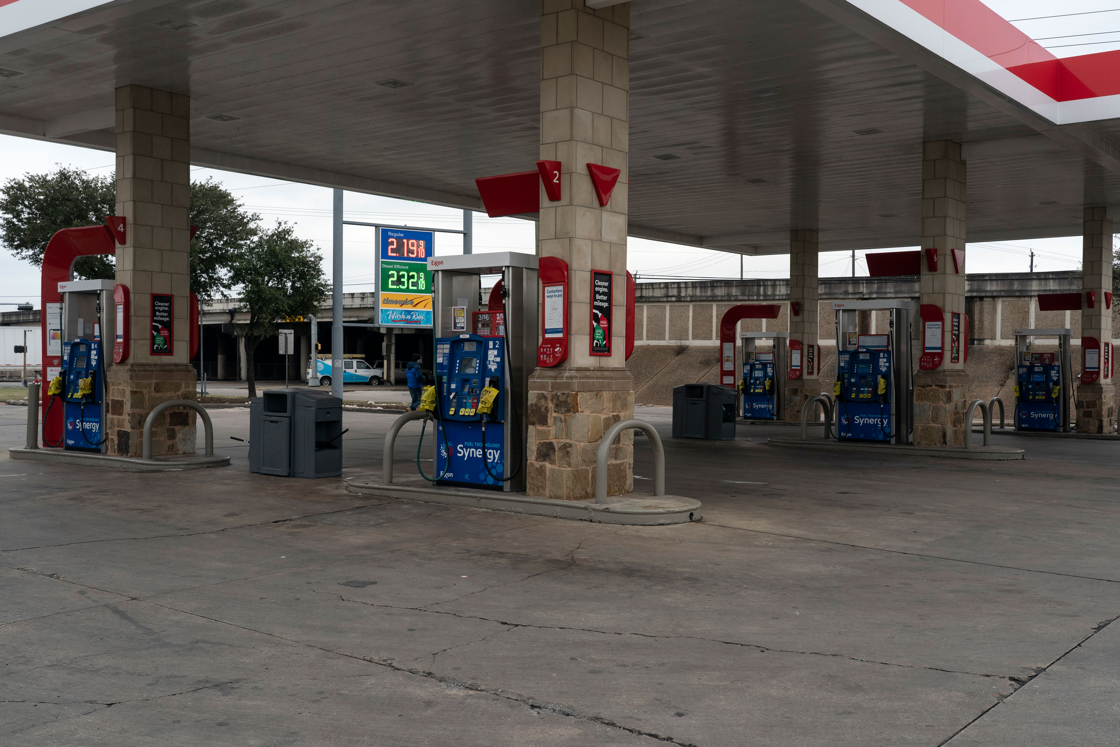 Pumps are out of service at an Exxon gas station in Houston due to high demand on February 18, after winter weather caused electricity blackouts.