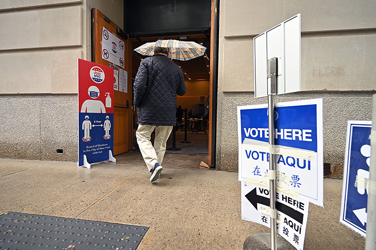 A voter arrives at a polling station set up at The Metropolitan Museum of Art on New York's Primary Election Day on June 22, 2021.