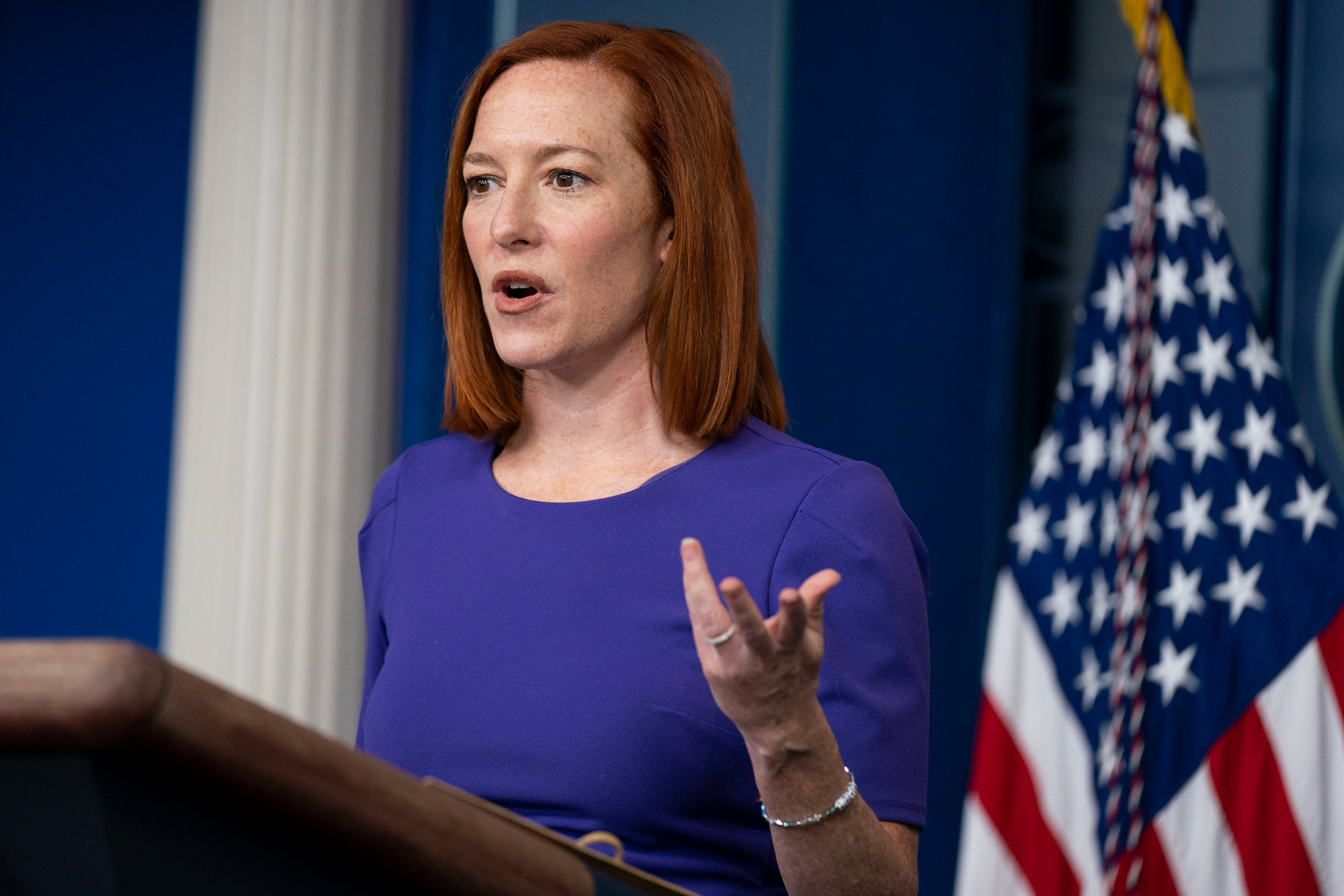 White House press secretary Jen Psaki speaks during a press briefing at the White House on February 24 in Washington, DC.