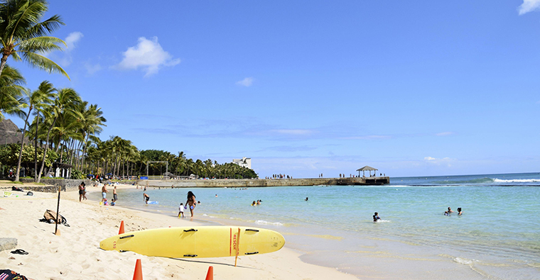 Fewer-than-usual people are seen at Waikiki Beach in Honolulu, Hawaii, on July 29, amid the novel coronavirus outbreak.