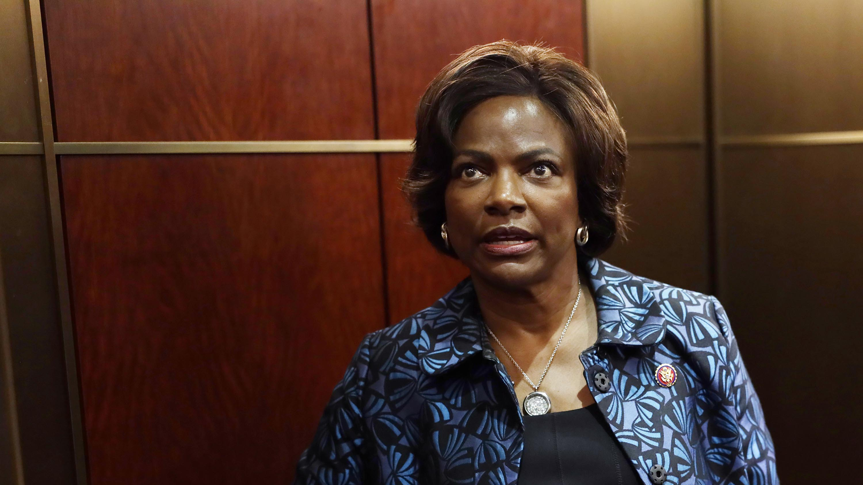 Rep. Val Demings speaks to members of the media after a closed session before the House Intelligence, Foreign Affairs and Oversight committees October 17, 2019.