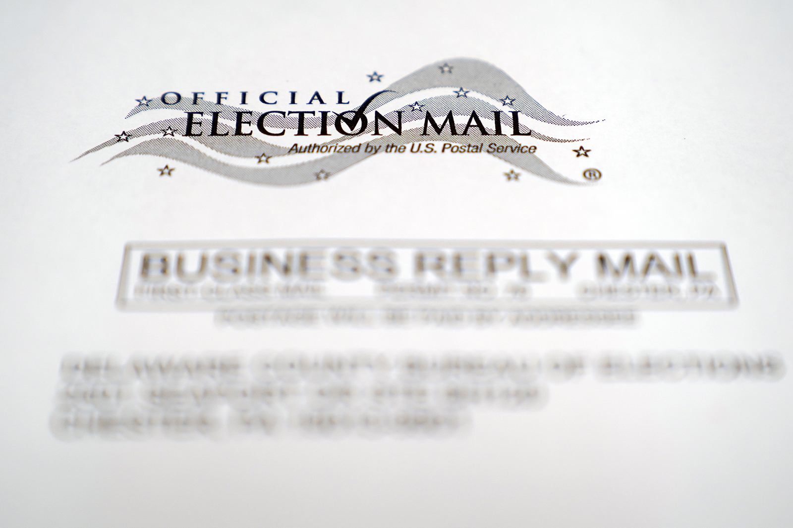 In this Oct. 13, 2020, photo, an envelope of a Pennsylvania official mail-in ballot for the 2020 general election in Marple Township, Pennsylvania.