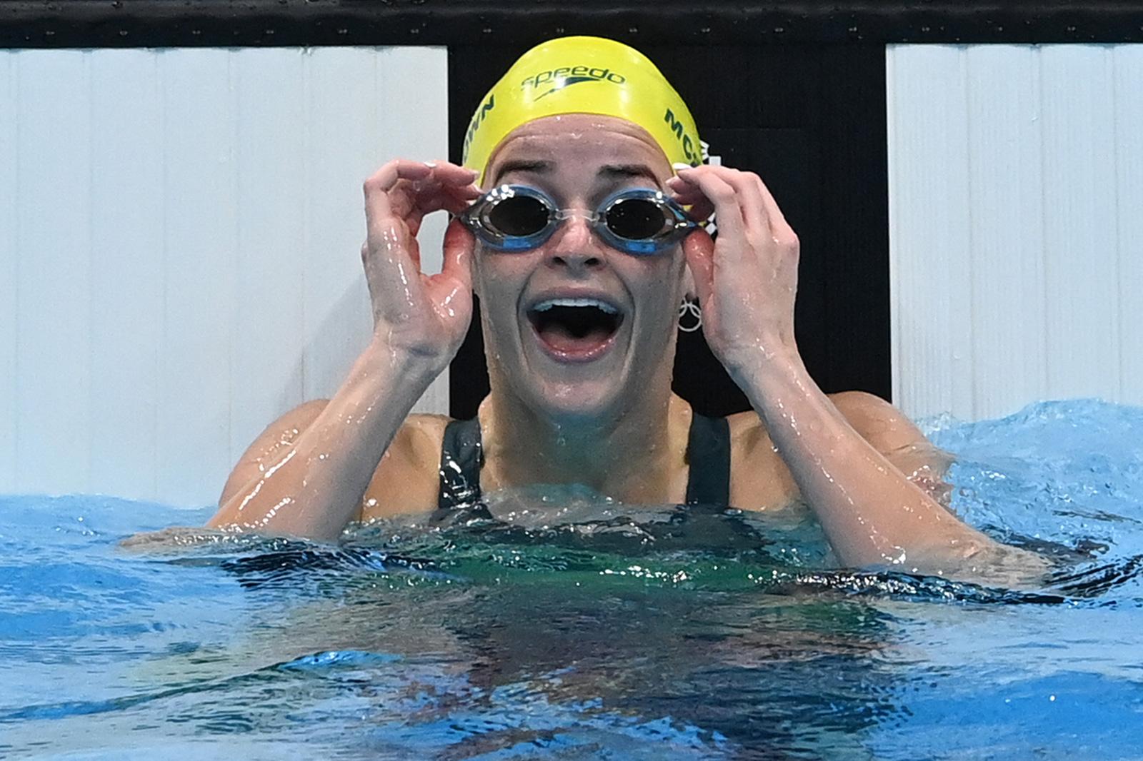 Australia's Kaylee McKeown celebrates after winningthe 100m backstroke on July 27.