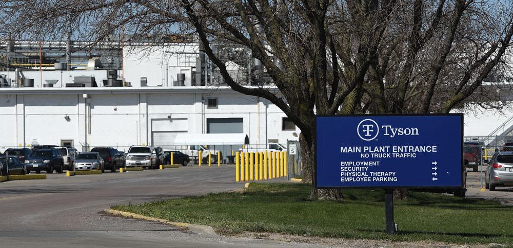 This Monday, April 20, 2020 photo, shows the Tyson Fresh Meats beef processing complex in Dakota City, Nebraska.