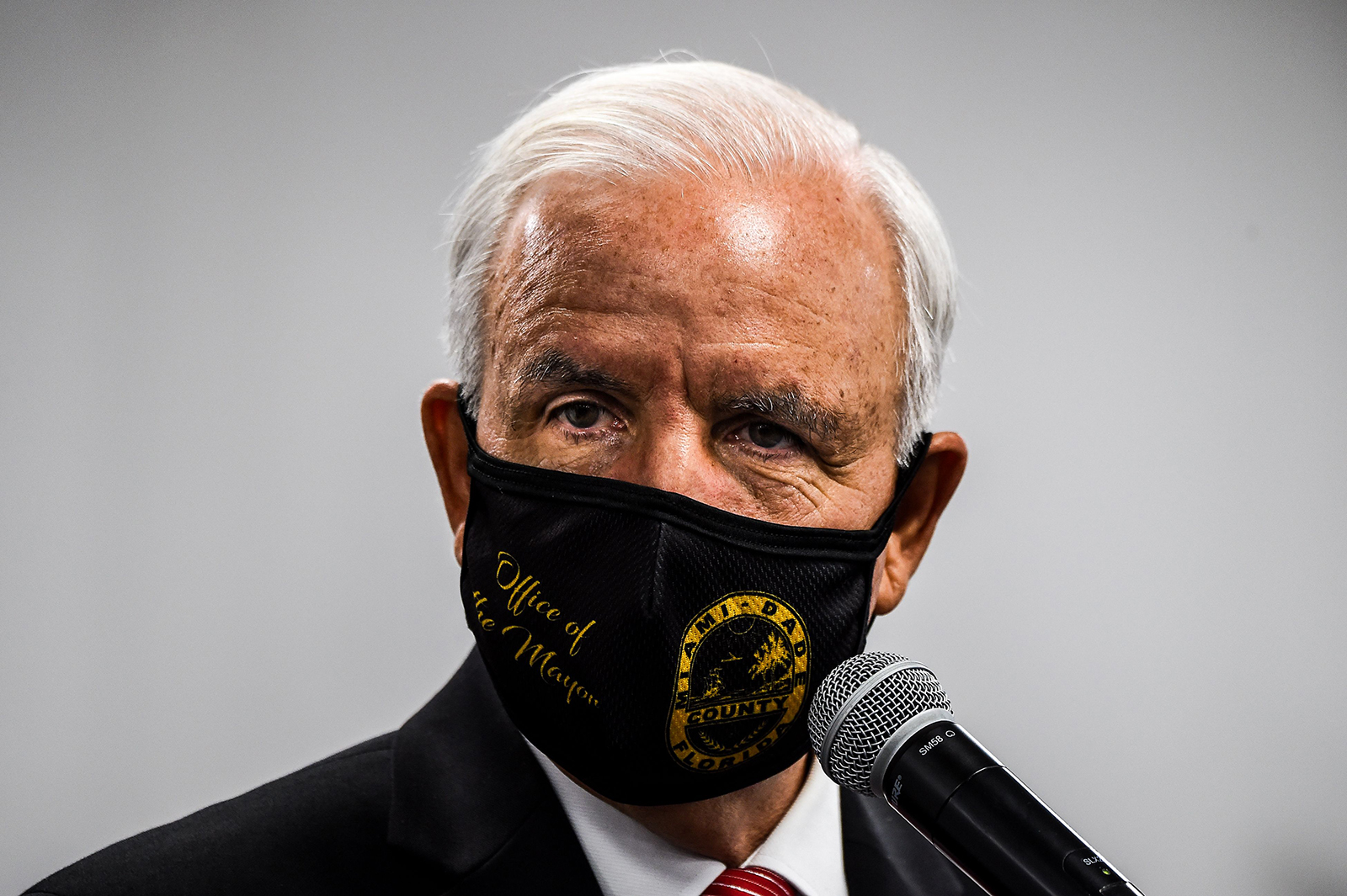 Miami-Dade County Mayor Carlos Gimenez wears a facemask during a press conference to address the rise of coronavirus cases in the state, at Jackson Memorial Hospital in Miami, on July 13.
