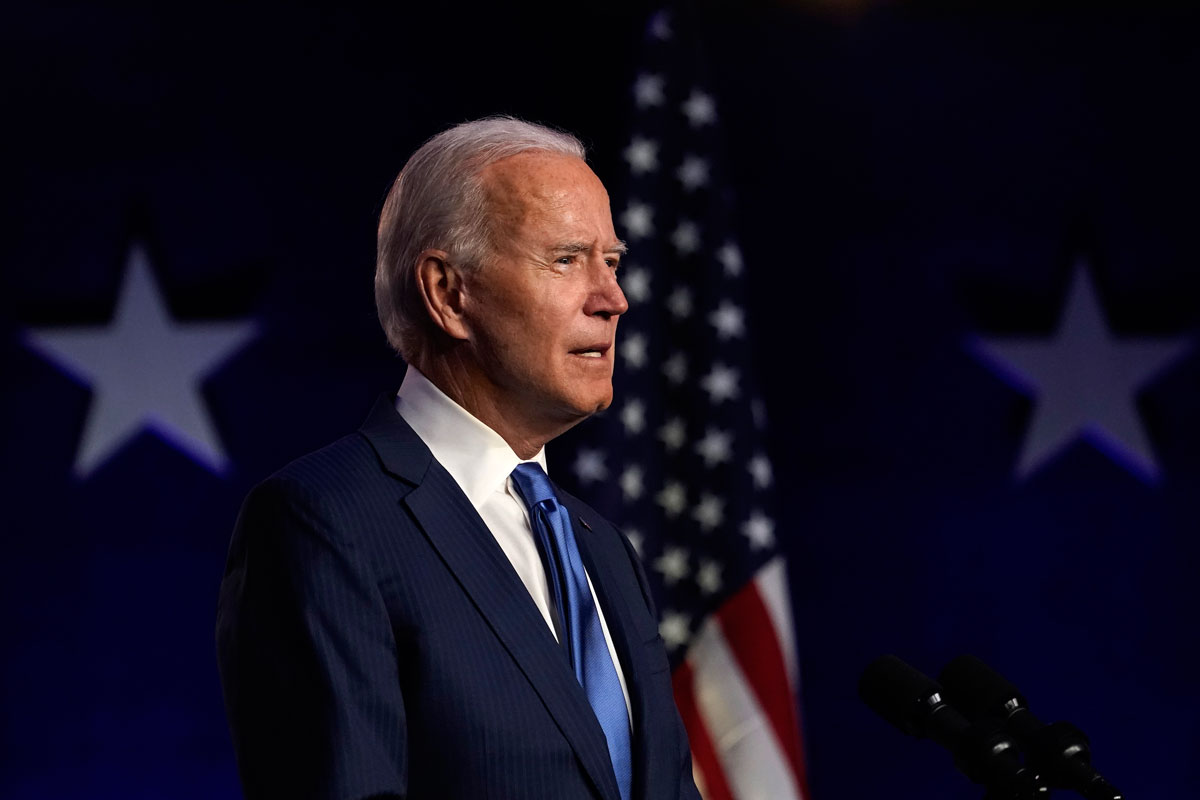 Democratic presidential nominee Joe Biden addresses the nation at the Chase Center on November 06 in Wilmington, Delaware.