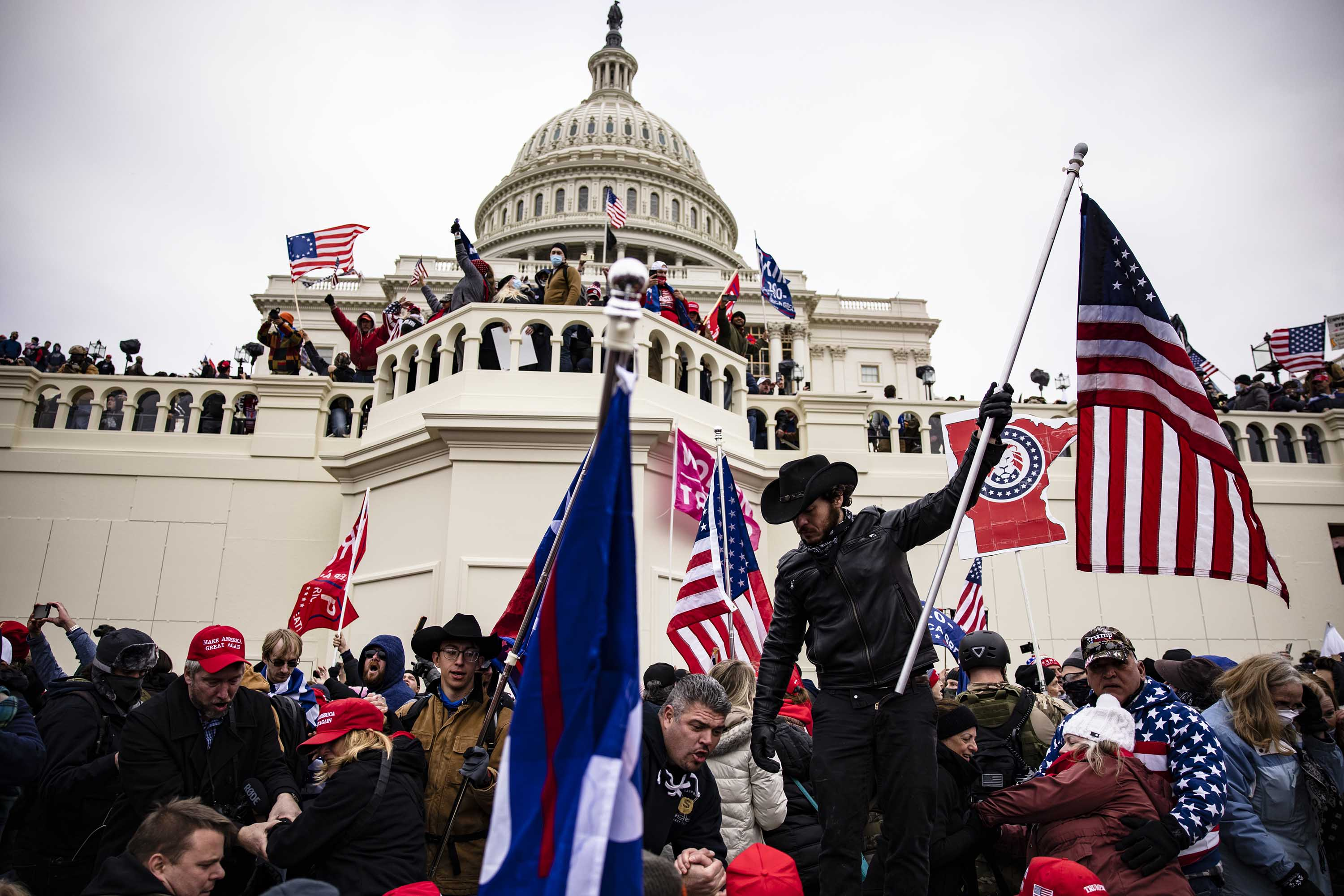 Pro-Trump supporters storm the U.S. Capitol following a rally with President Donald Trump on January 6, in Washington, DC.