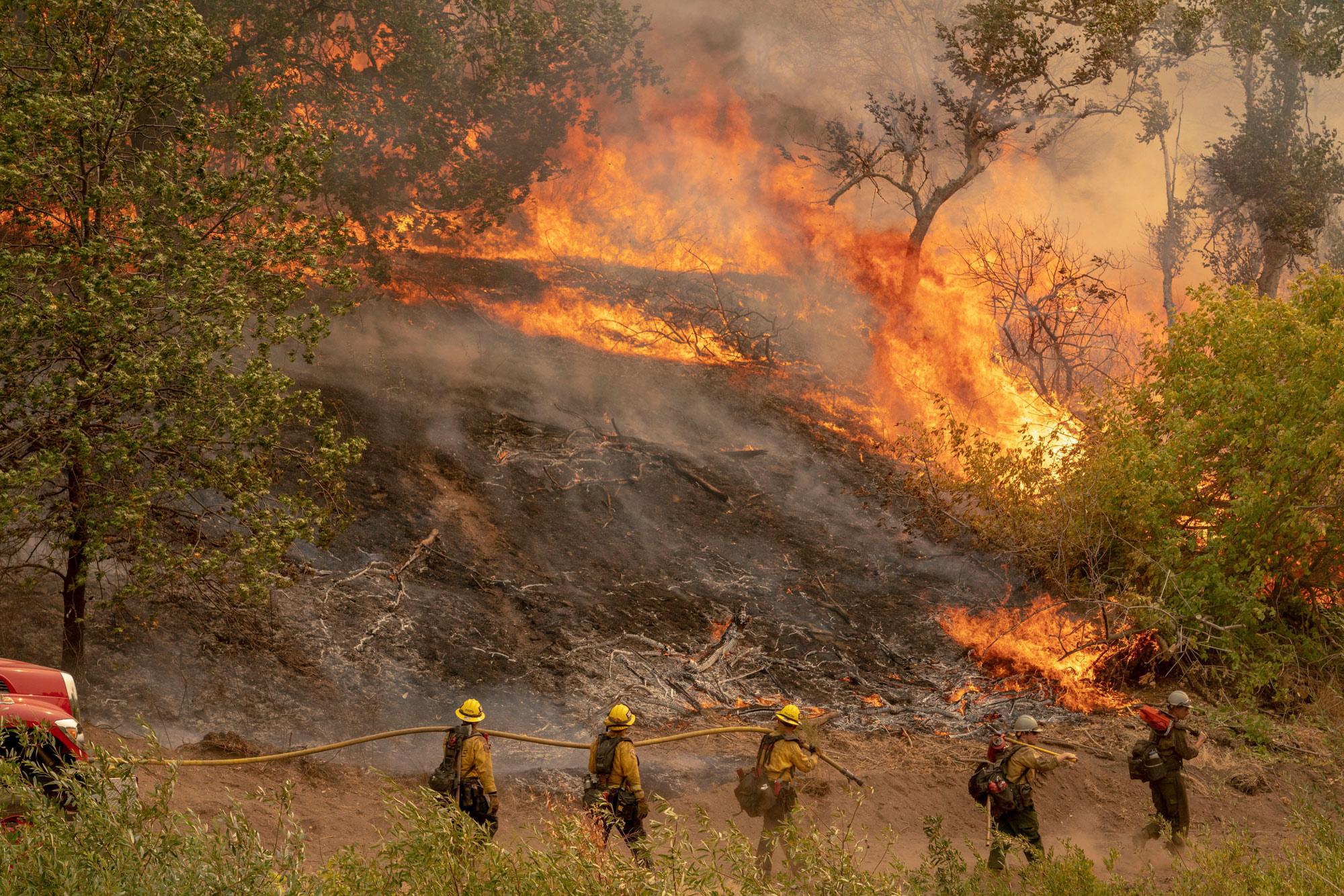 The El Dorado Fire burns a hillside near Yucaipa in the San Bernardino National Forest, California, on September 7.