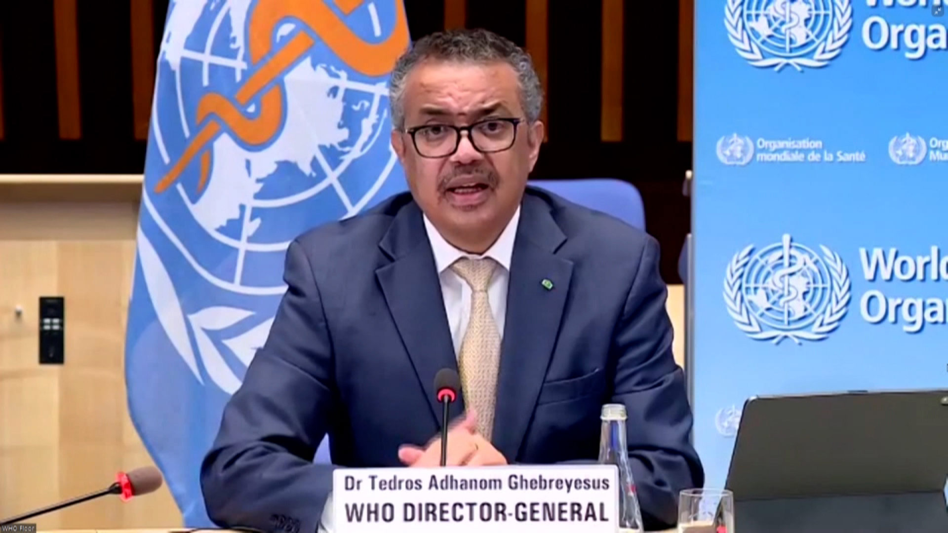 World Health Organization Director General Tedros Adhanom Ghebreyesus speaks during a press conference on Monday, March 29.